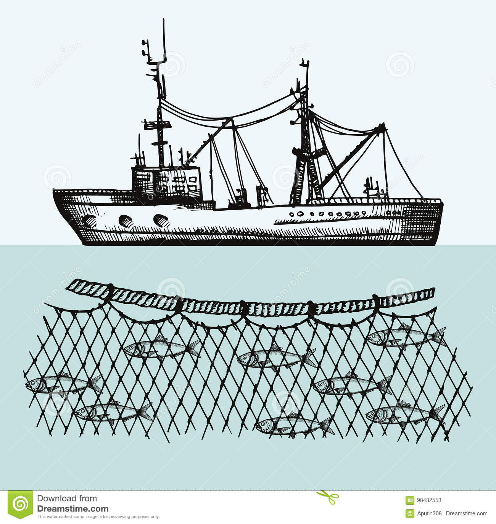 Vector Del Barco Pesquero Fisheries Pescados En El Ejemplo Del