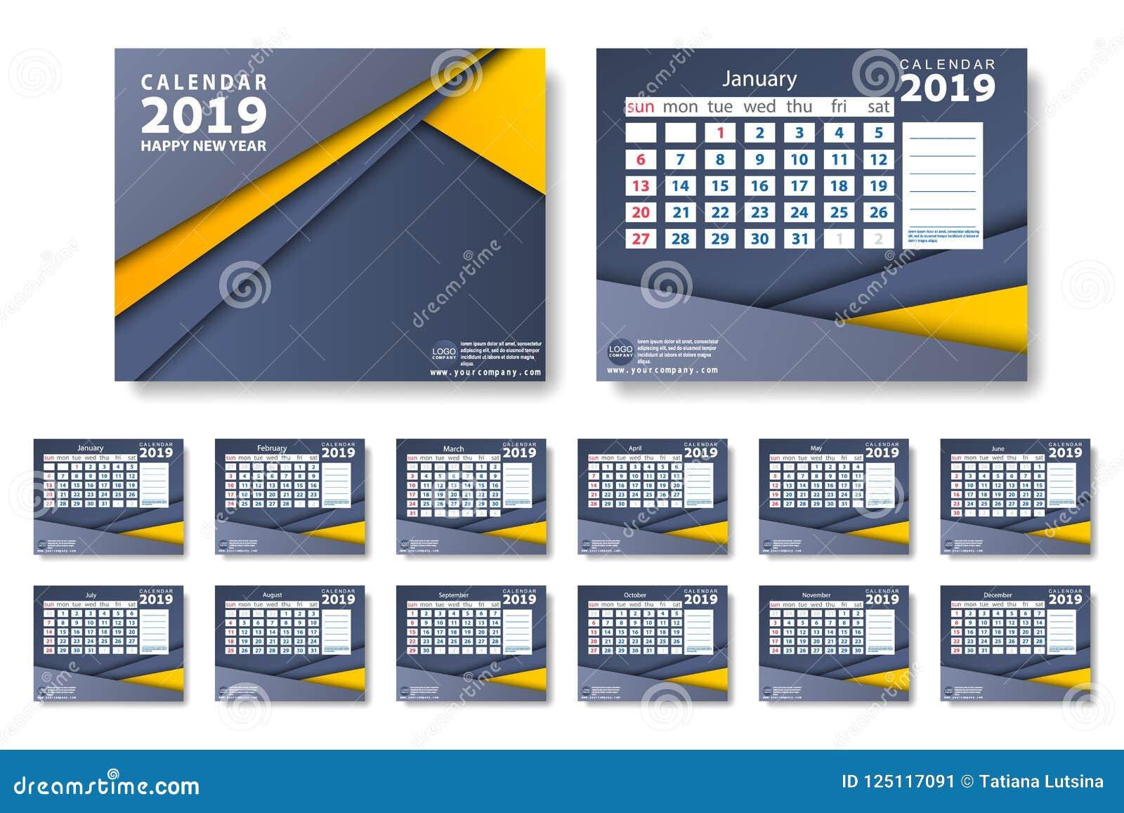 Vector del calendario del Año Nuevo 2019 en estilo simple de la tabla mínima limpia y color del amarillo azul y anaranjado