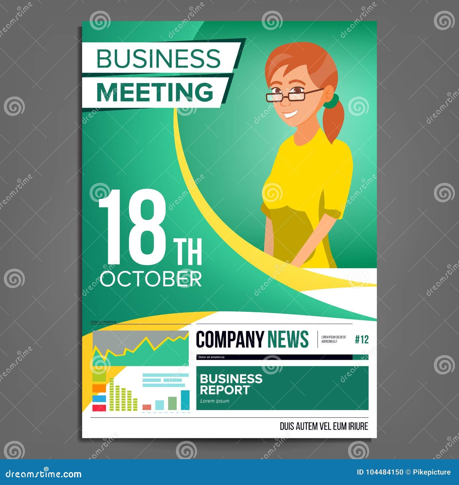 Vector Del Cartel De La Reunión De Negocios Mujer De