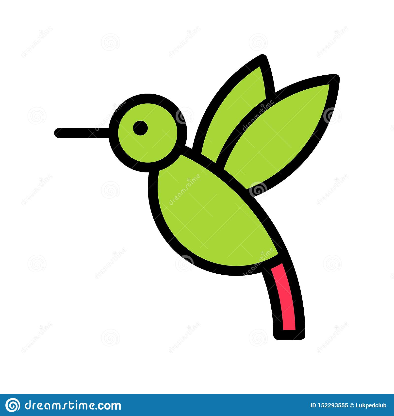Vector del colibrí, icono llenado relacionado tropical del estilo