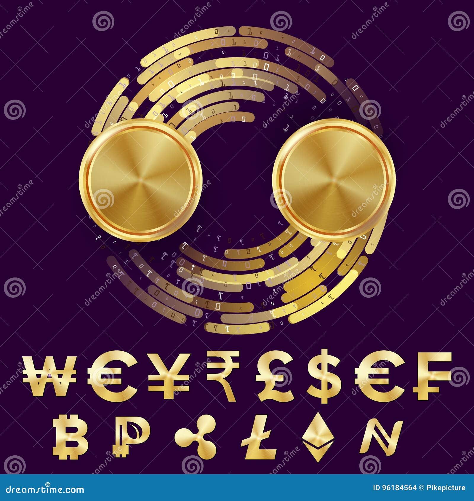 Vector del concepto del espacio en blanco del intercambio de moneda del dinero Bitcoin, dólar Fintech Blockchain Monedas de oro c