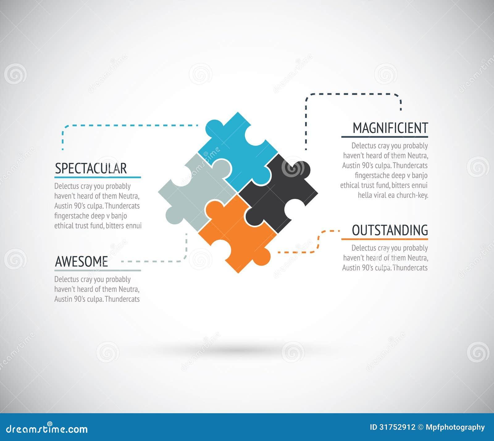 Vector del concepto del negocio del infographics del pedazo del rompecabezas