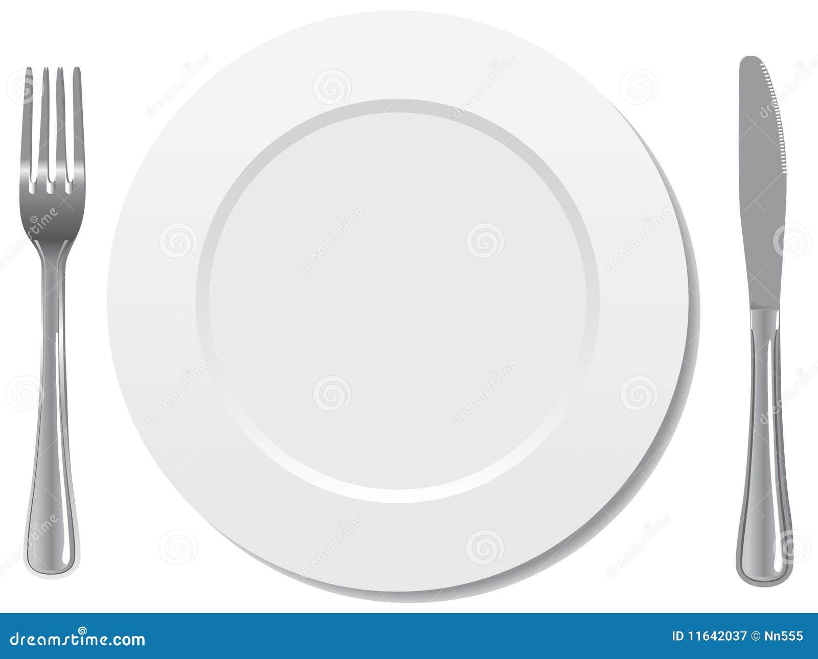 Vector del cuchillo y de la fork de la placa