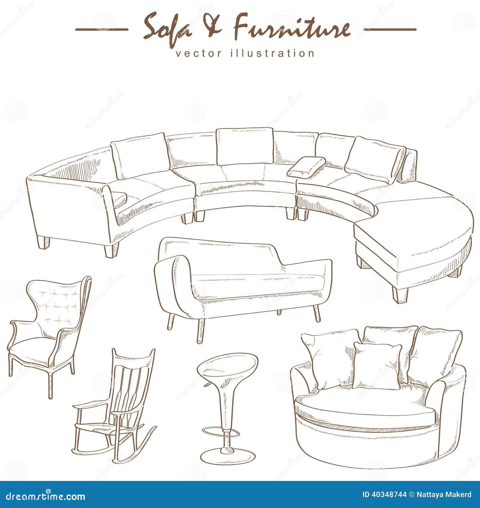 Bosquejo De La Acuarela De Los Muebles Ilustraci N Del Vector  # Muebles Dibujo Arquitectonico