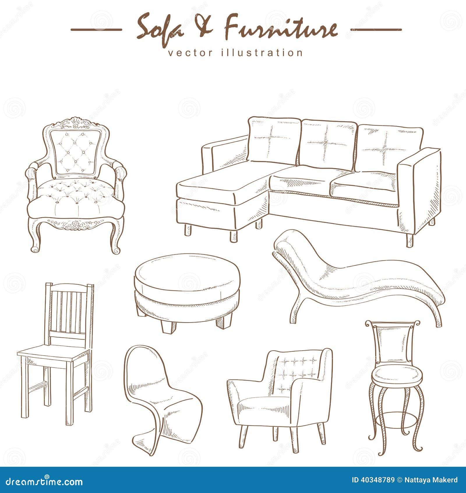 vector del dibujo de bosquejo de la colección de los muebles ... - Dibujo De Muebles