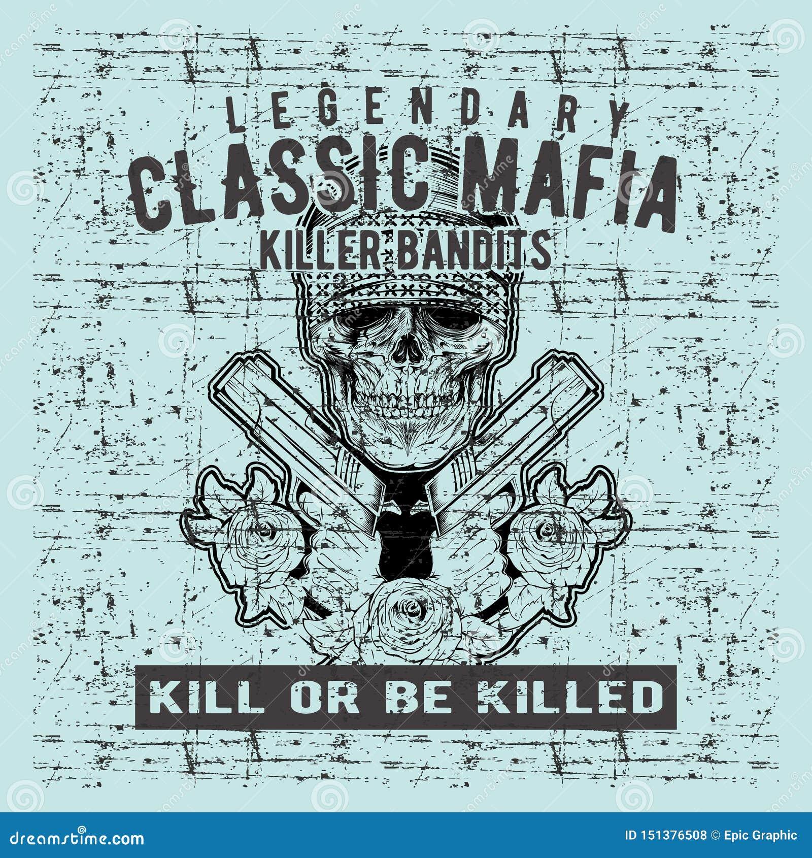 Vector del dibujo de la mano del arma de la tenencia de la mafia del cráneo del vintage del estilo del Grunge