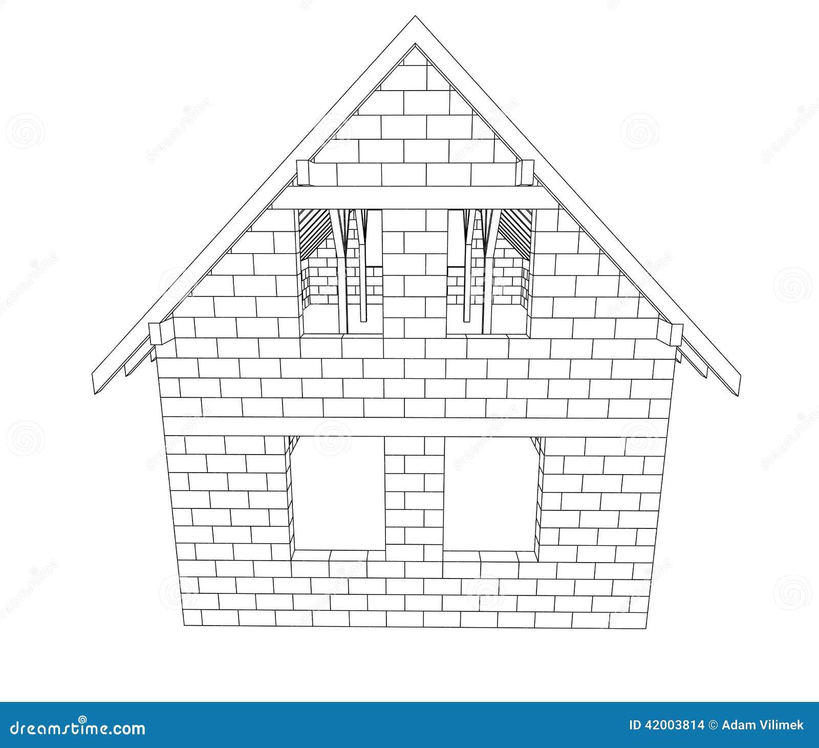Vector del dibujo lineal de la construcci n de la casa de - La casa de la construccion ...
