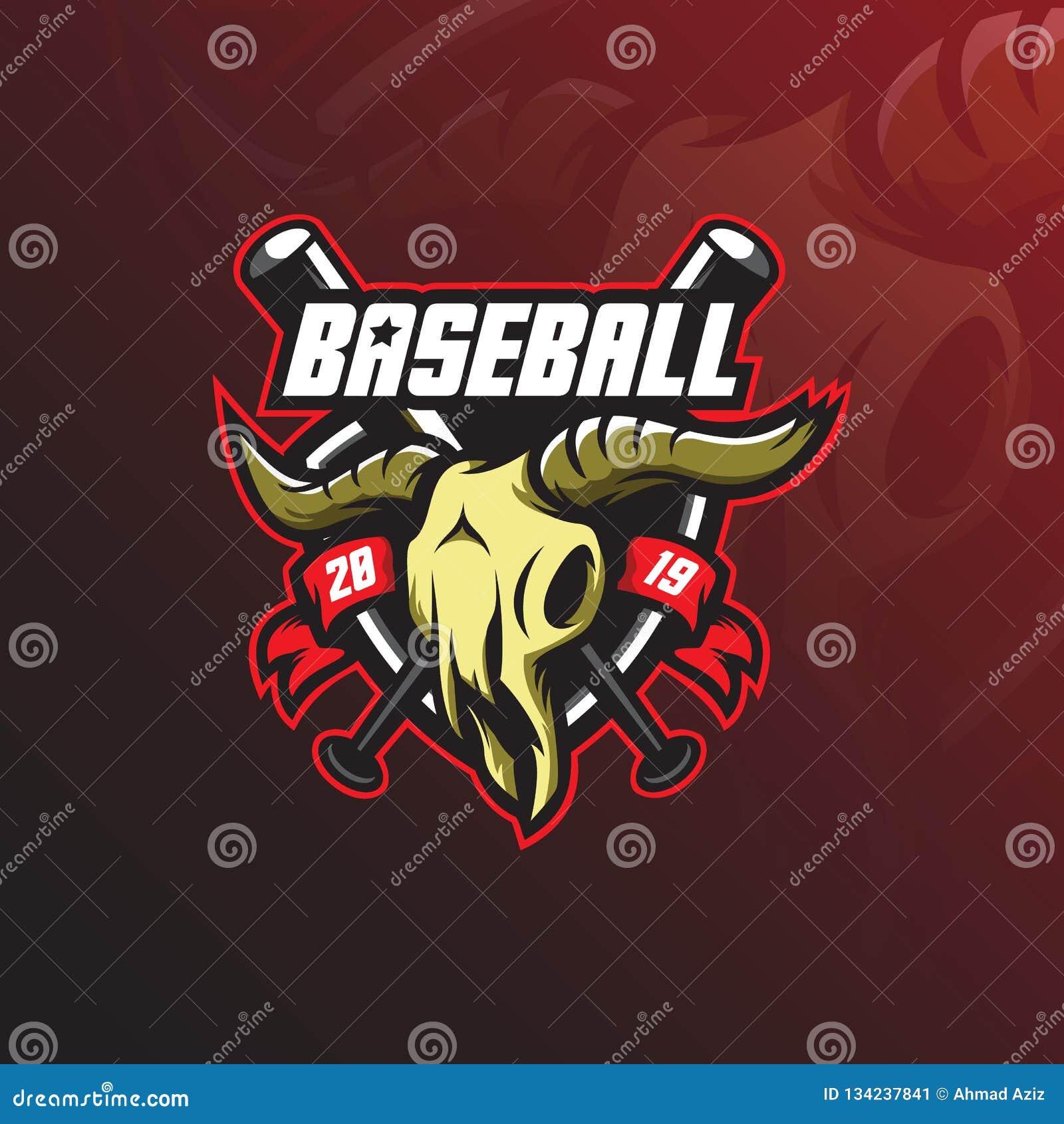 Vector del diseño de la mascota del logotipo del béisbol con el estilo moderno del concepto del ejemplo para la impresión de la i