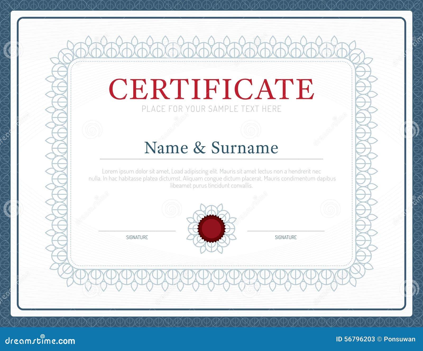 Vector del diseño del marco del fondo de la disposición de la plantilla del certificado modo