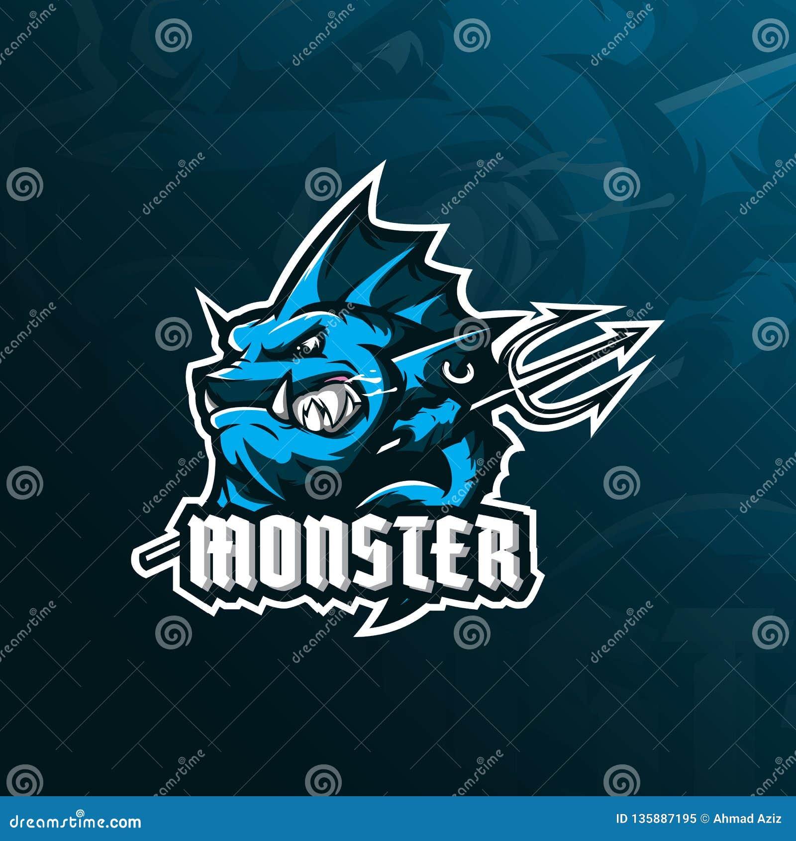 Vector del diseño del logotipo de la mascota de los pescados del monstruo con el estilo moderno del concepto del ejemplo para la