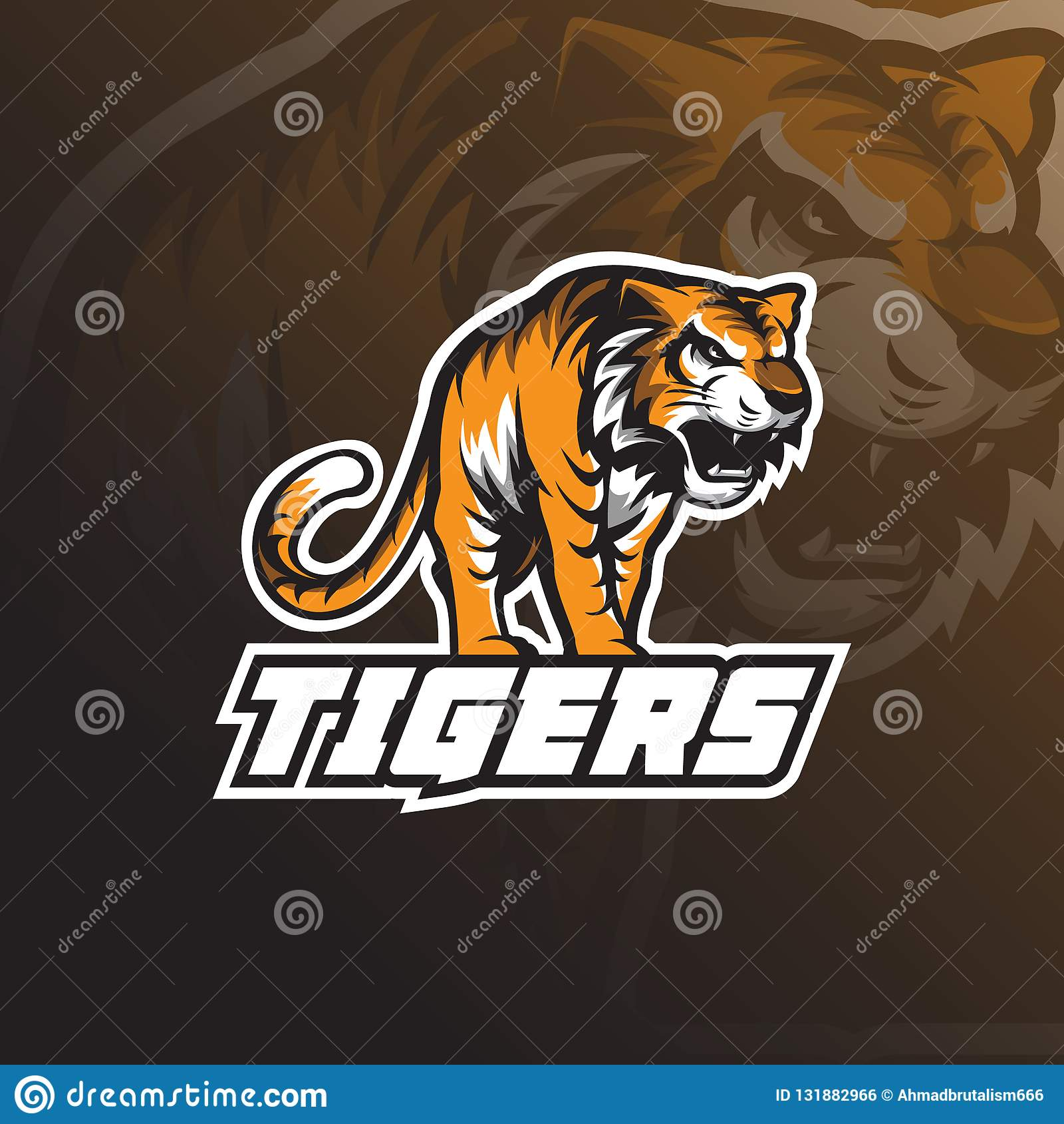 Vector del diseño del logotipo de la mascota del tigre de la bestia con concepto del emblema de la insignia