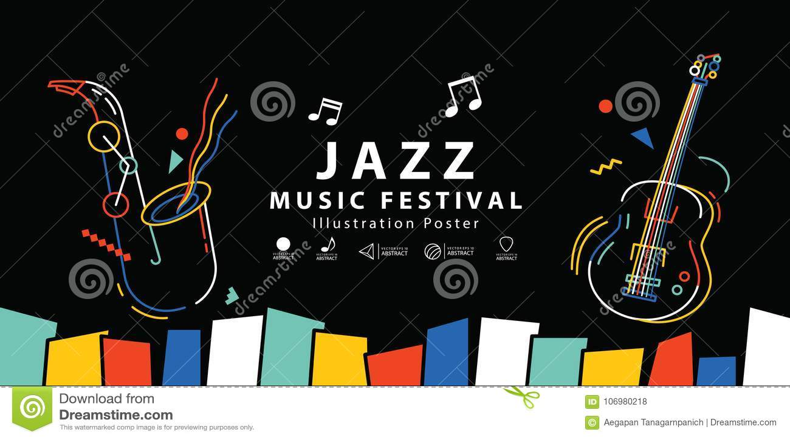 Vector del ejemplo del cartel de la bandera del festival de música de jazz Backgroun