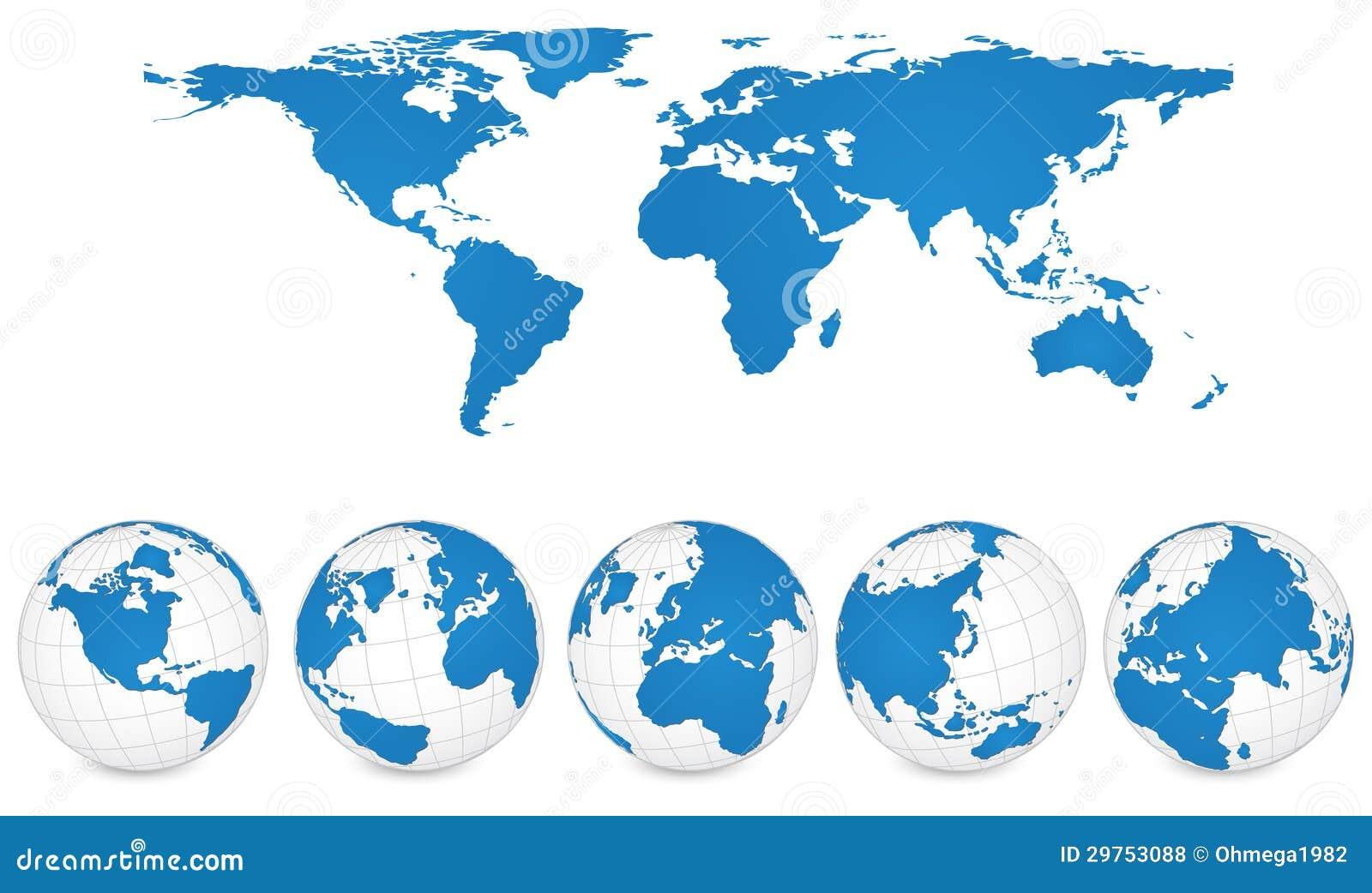 Ejemplo del vector del detalle del mapa del mundo y del globo.