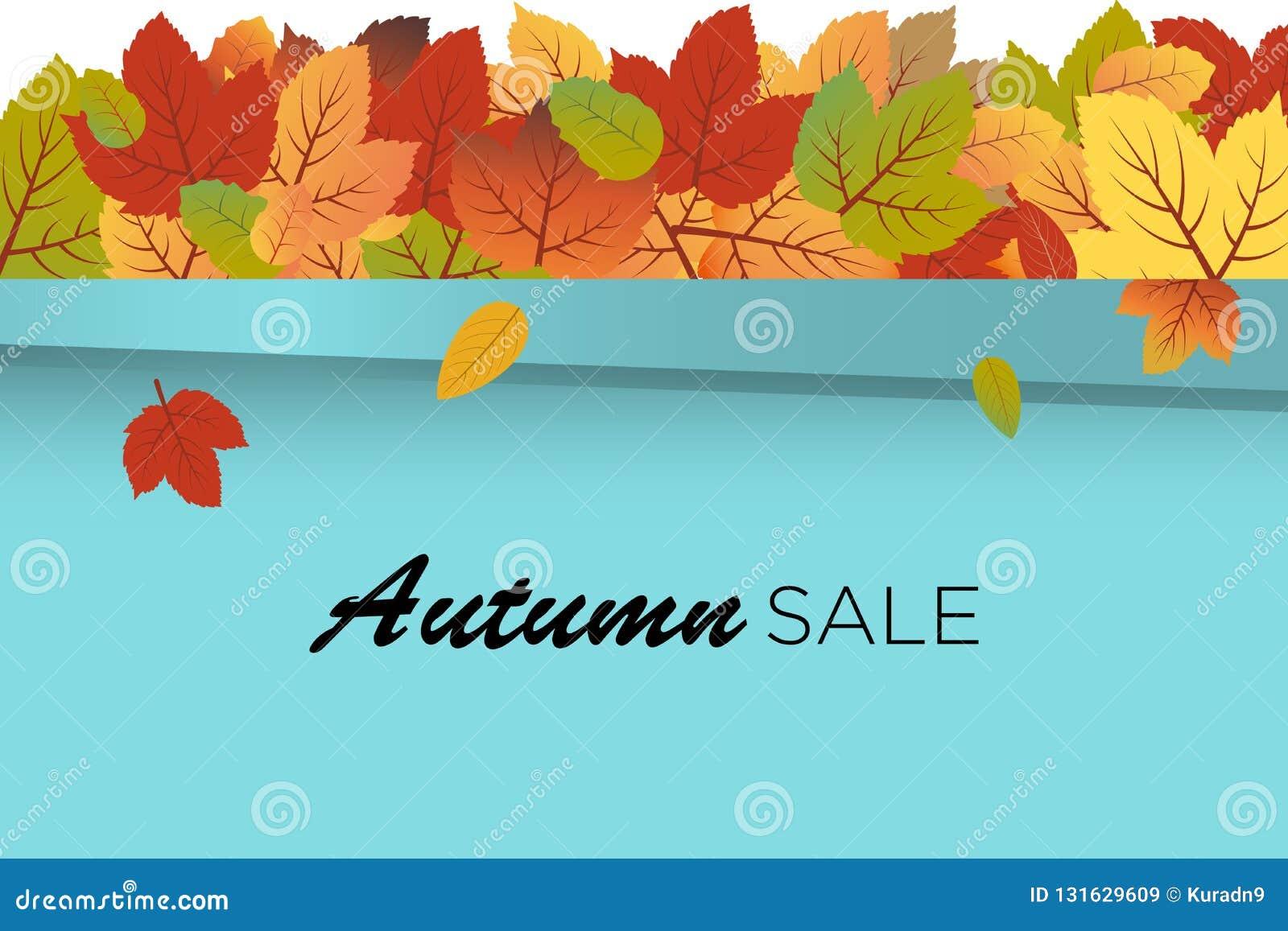 Vector del fondo de Autumn Sale con las hojas de la caída en la cima de la pared de la turquesa