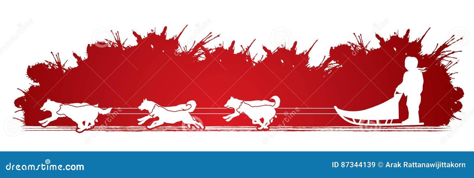 Vector del gráfico de los perros de trineo
