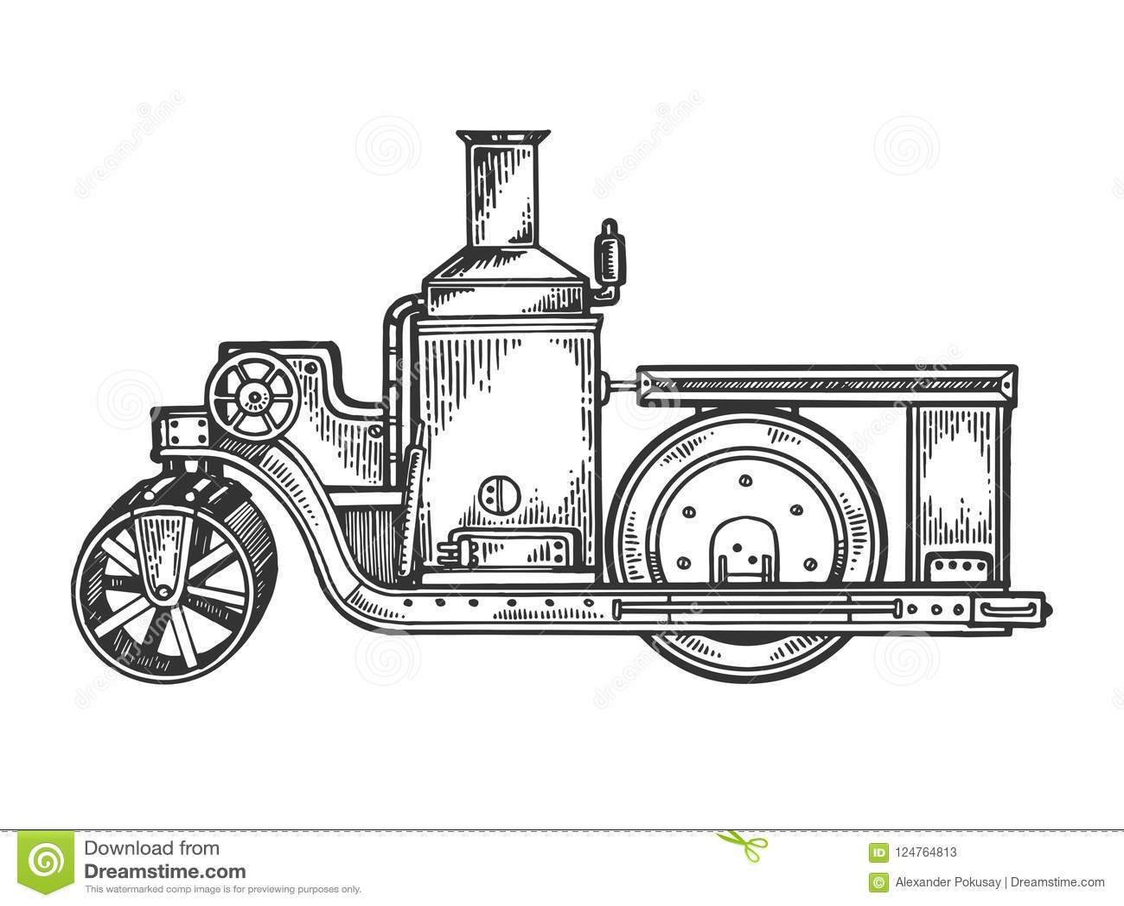 vector del grabado del tractor del rodillo de camino del