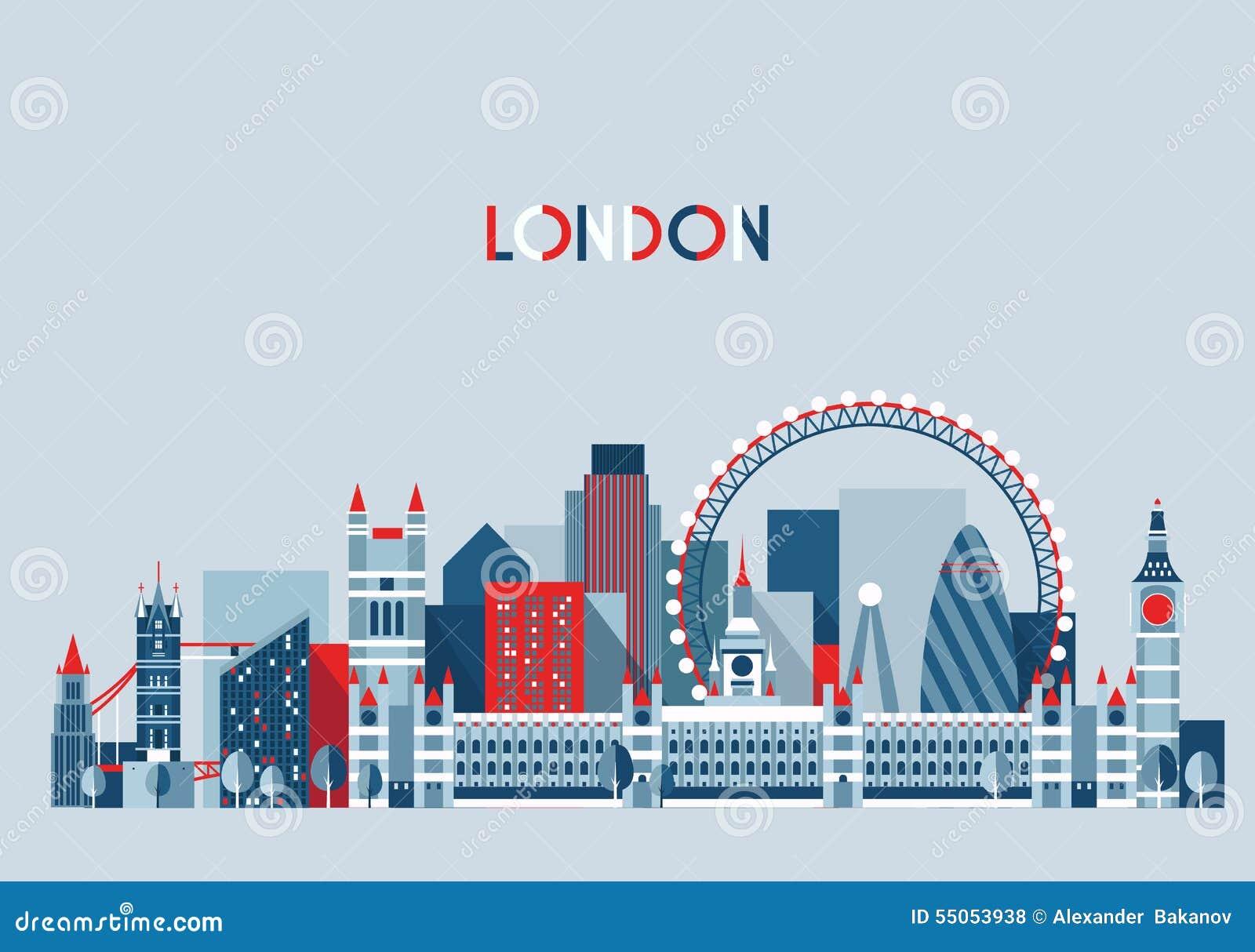 Vector del horizonte de la ciudad de Londres, Inglaterra De moda plano