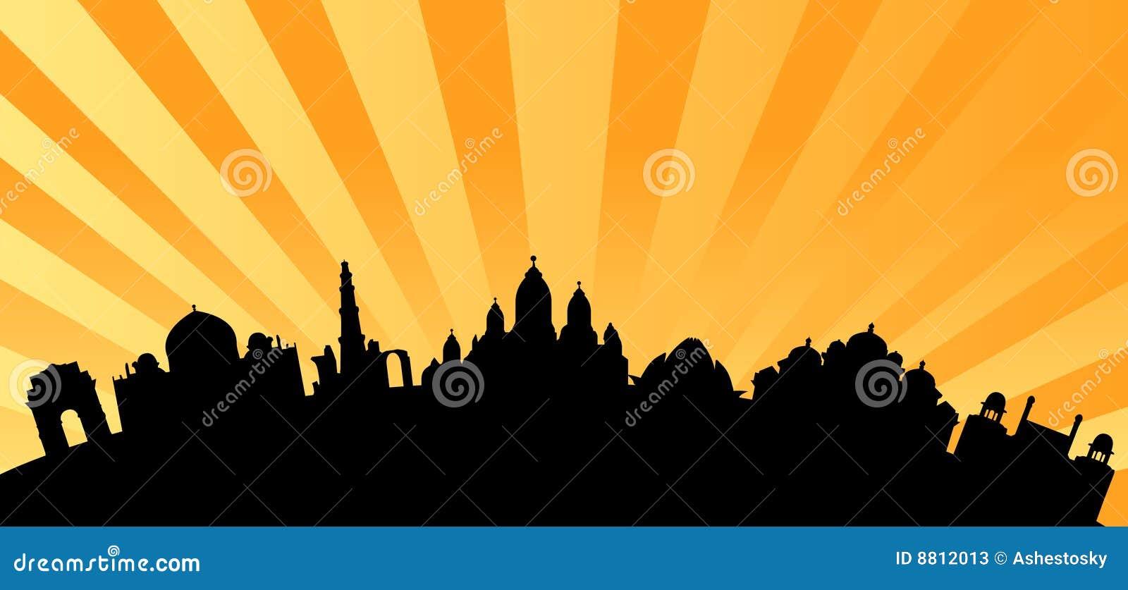 Vector del horizonte de las señales de Delhi