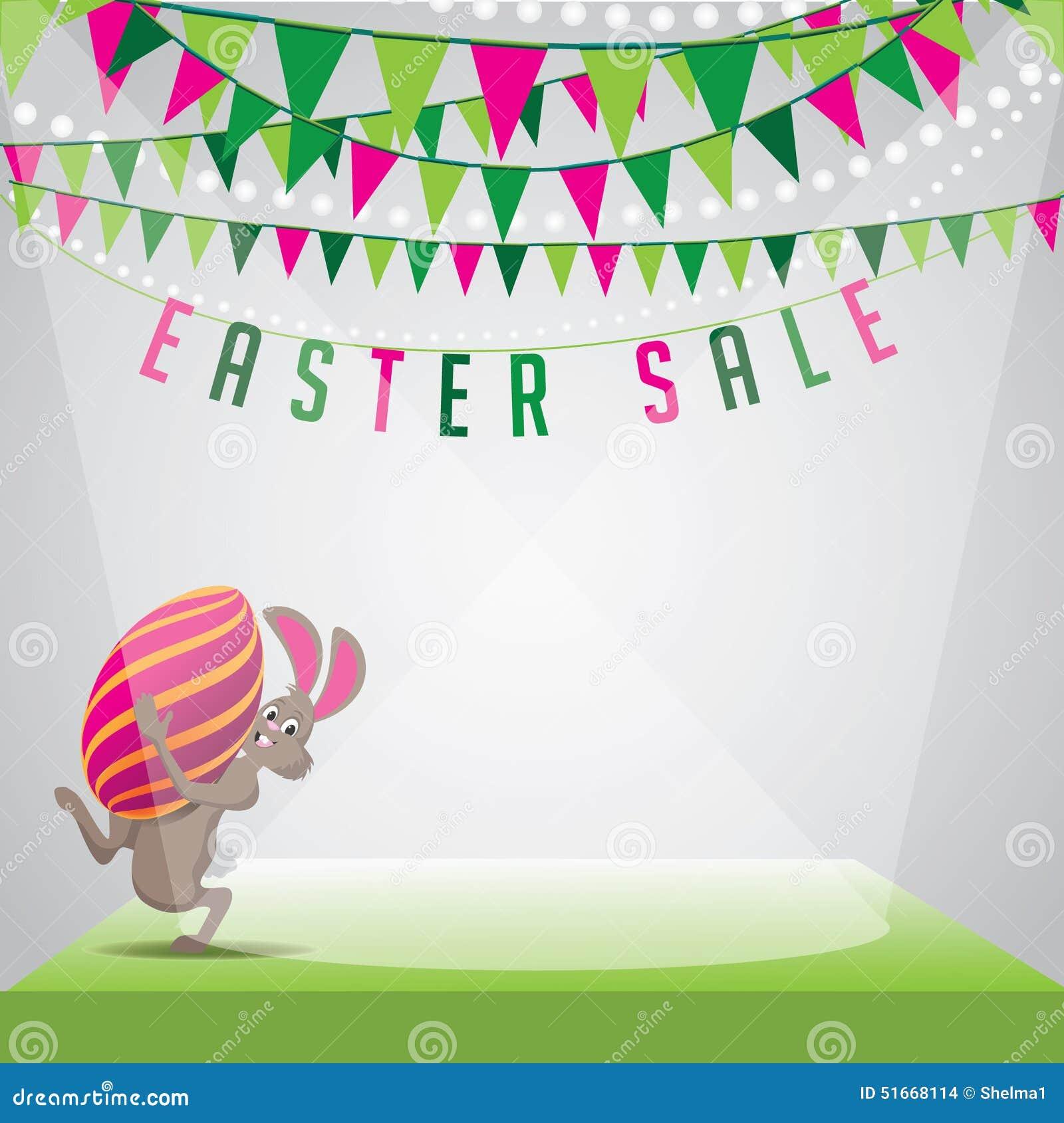 Vector del huevo del conejito de la venta de Pascua y del fondo EPS 10 del empavesado