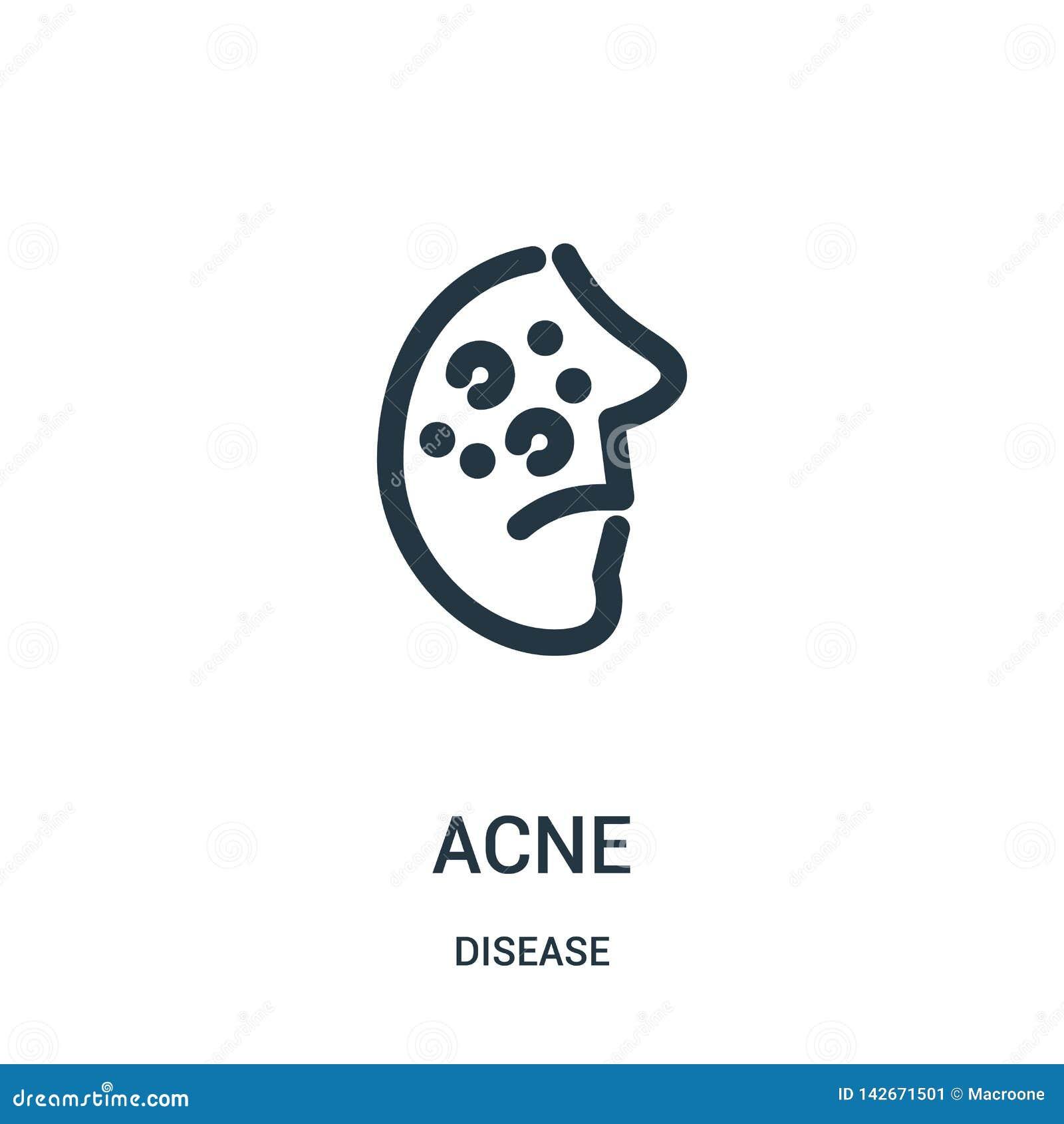 Vector del icono del acné de la colección de la enfermedad Línea fina ejemplo del vector del icono del esquema del acné Símbolo l