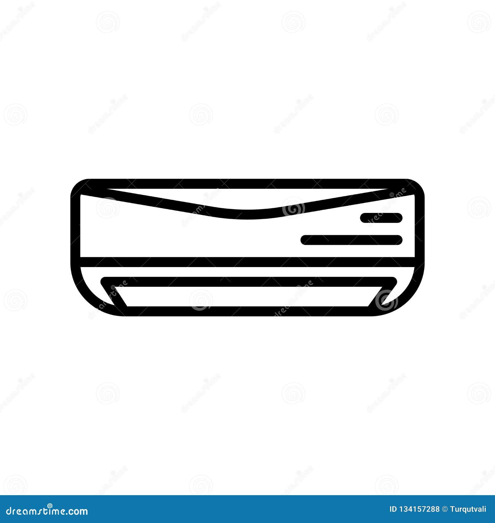 Vector del icono del aire acondicionado aislado en el fondo, la muestra del aire acondicionado, la línea y los elementos blancos