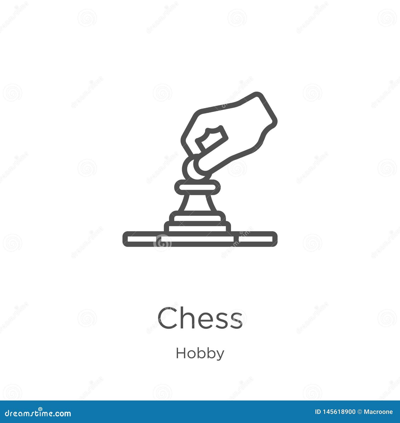 Vector del icono del ajedrez de la colección de la afición L?nea fina ejemplo del vector del icono del esquema del ajedrez Esquem