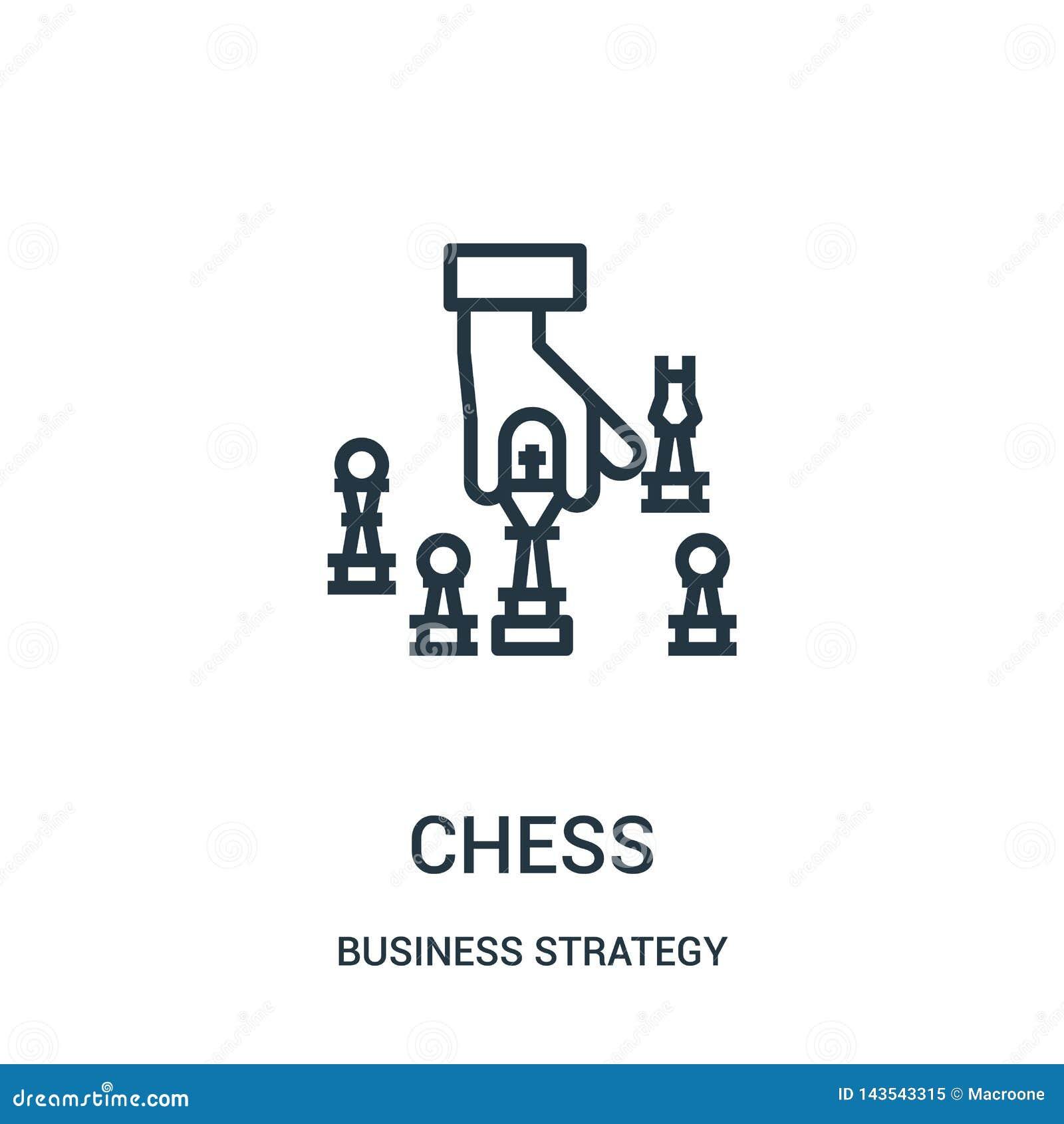 Vector del icono del ajedrez de la colección de la estrategia empresarial Línea fina ejemplo del vector del icono del esquema del