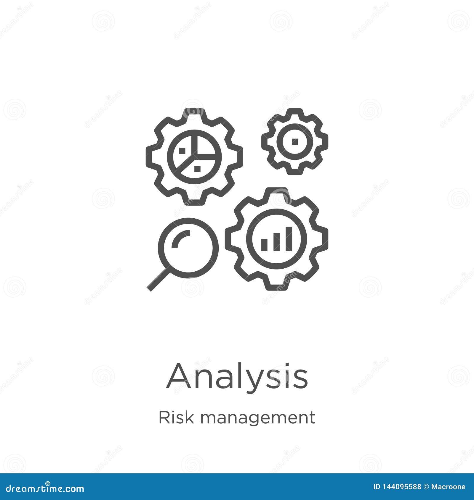 Vector del icono del análisis de la colección de la gestión de riesgos L?nea fina ejemplo del vector del icono del esquema del an