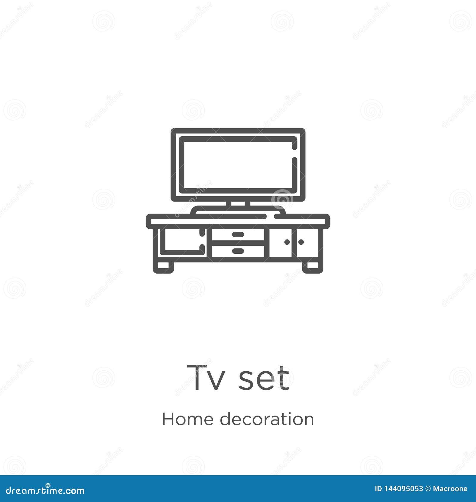 Vector del icono del aparato de TV de la colección casera de la decoración Línea fina ejemplo del vector del icono del esquema de