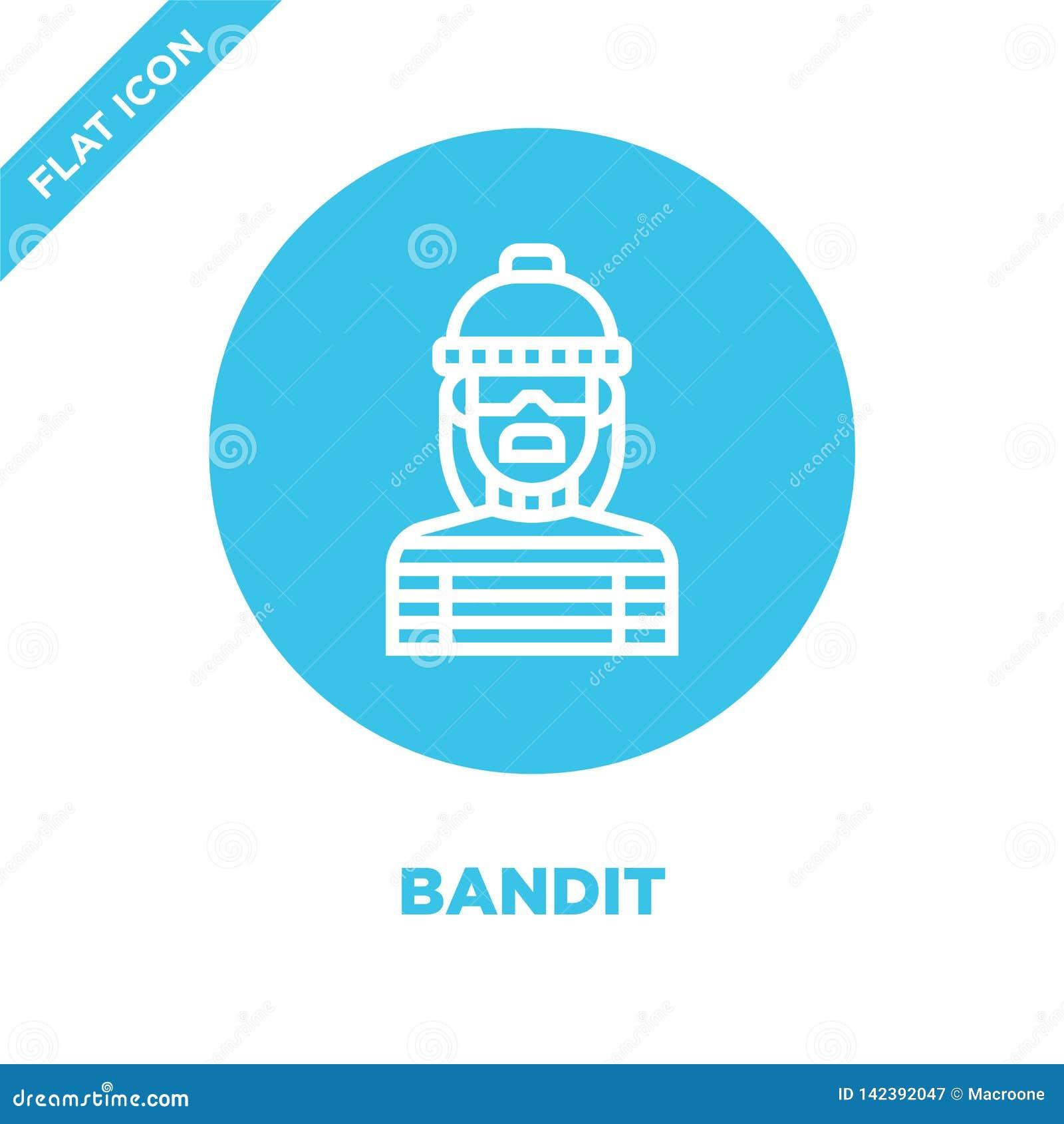Vector del icono del bandido de la colección de los elementos de la corrupción Línea fina ejemplo del vector del icono del esquem