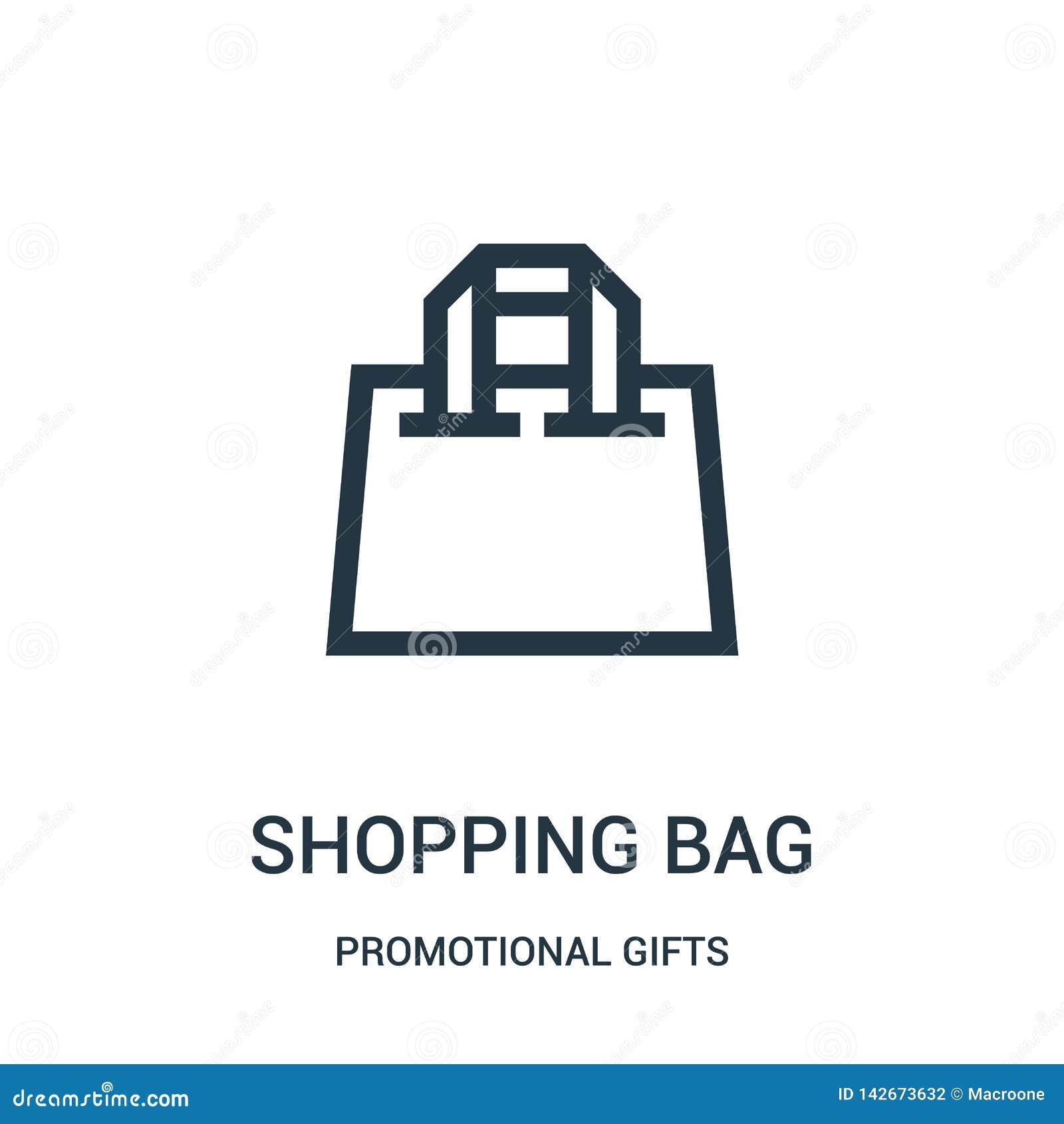 Vector del icono del bolso de compras de la colección promocional de los regalos Línea fina ejemplo del vector del icono del esqu