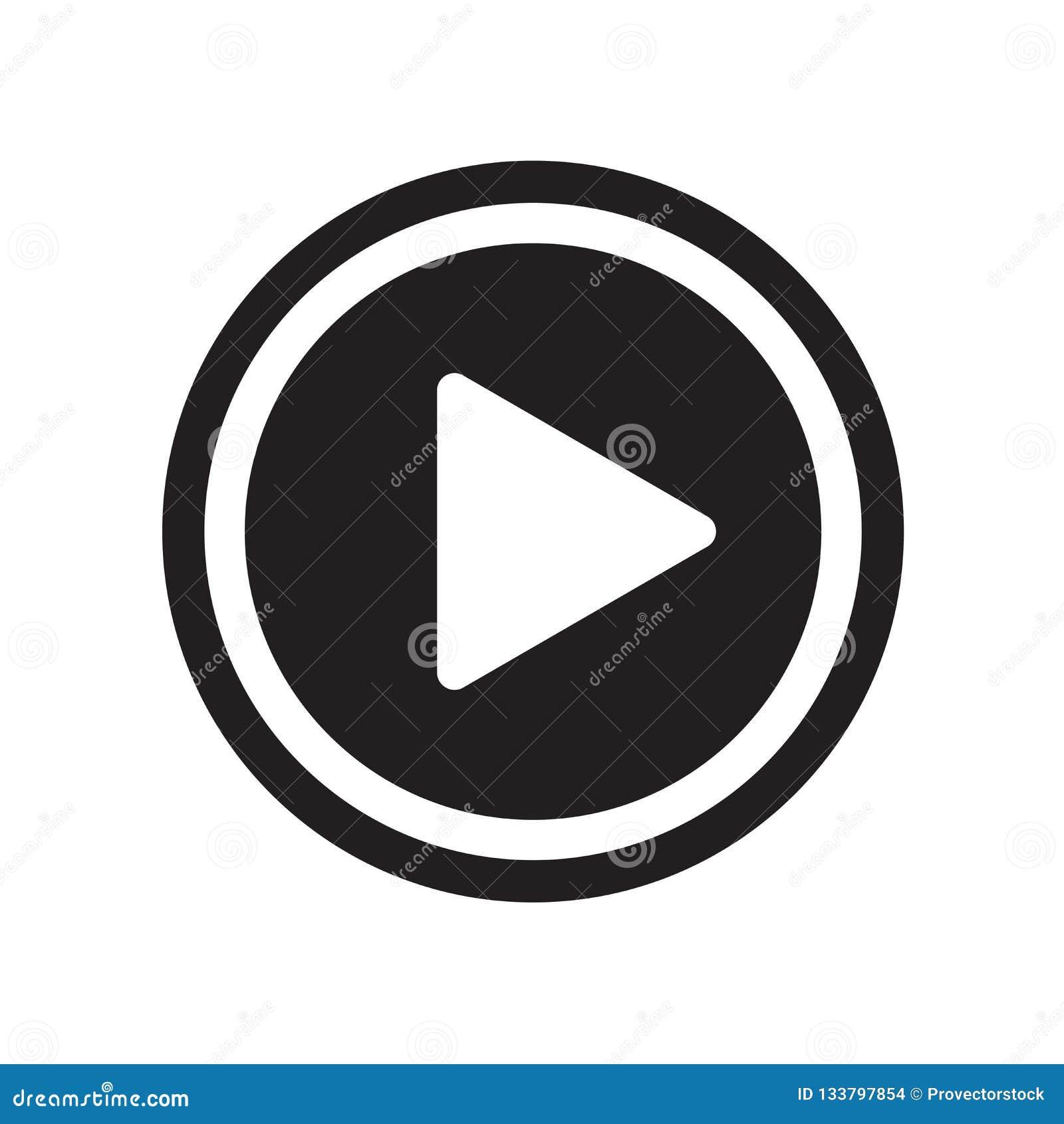 Vector del icono del botón de reproducción aislado en el fondo blanco, butto del juego