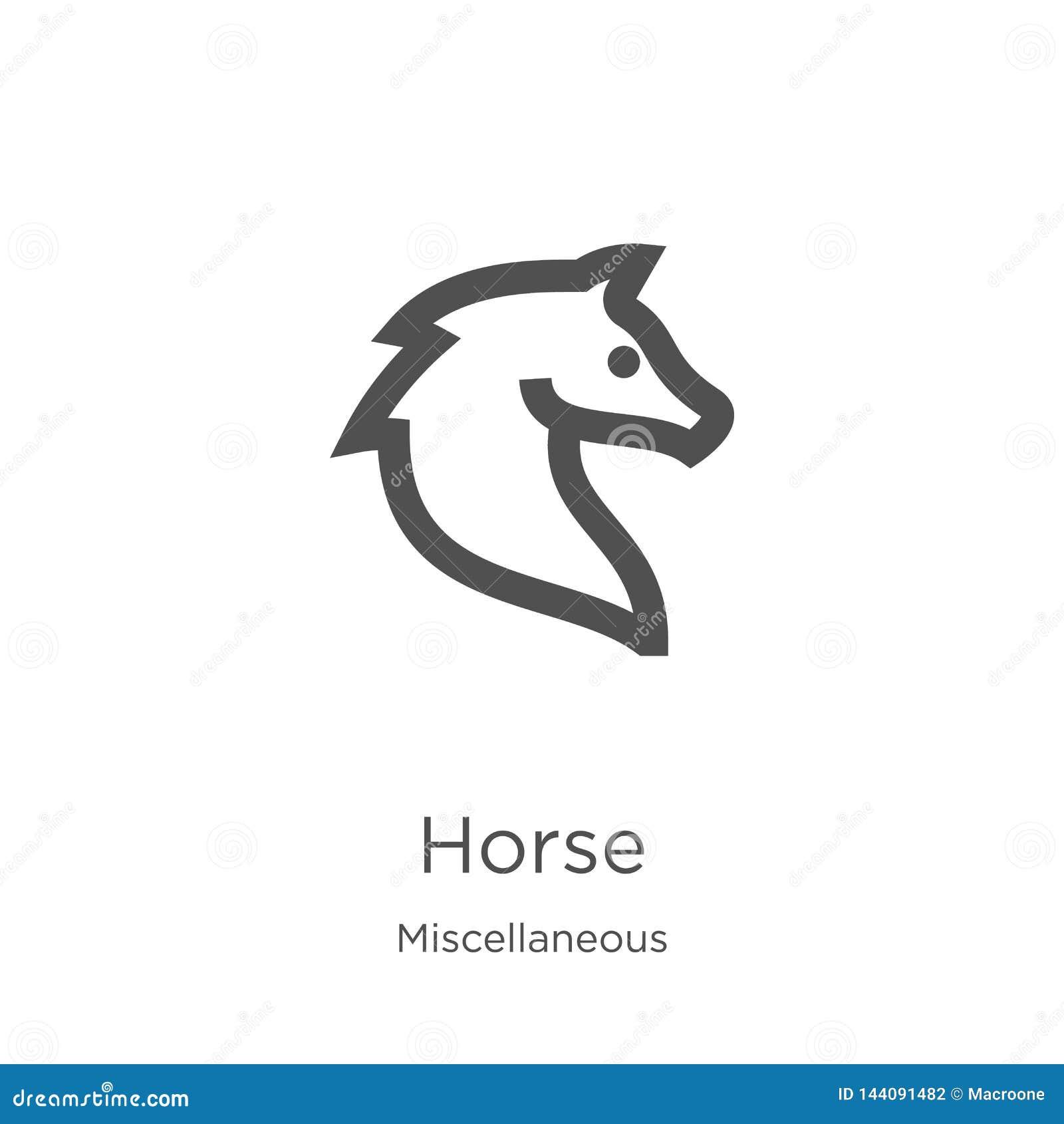 Vector del icono del caballo de la colección diversa Línea fina ejemplo del vector del icono del esquema del caballo Esquema, lín