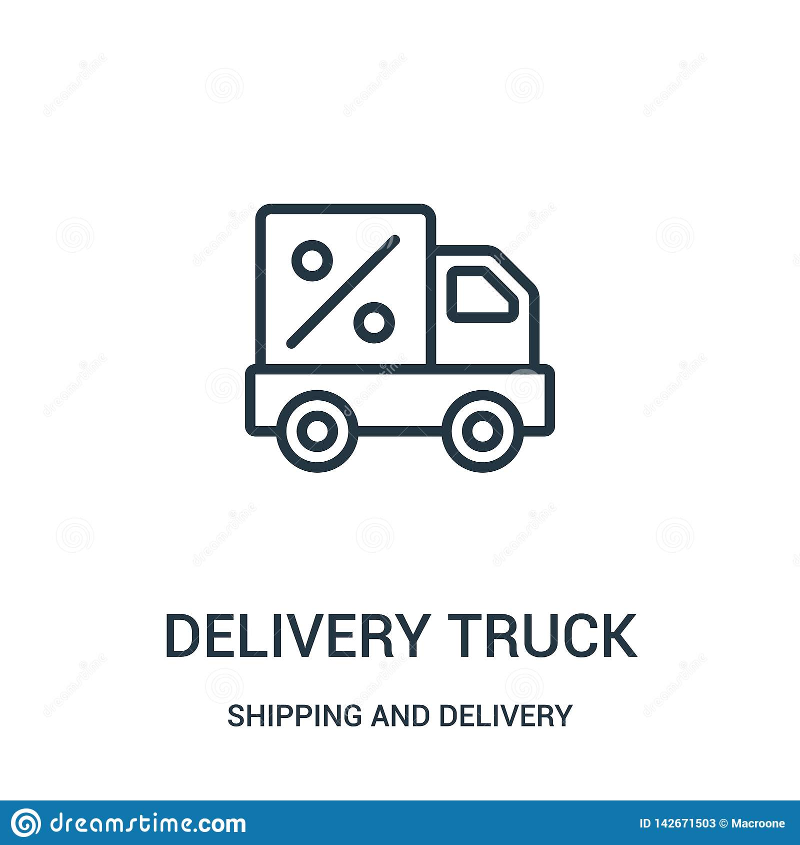 Vector del icono del camión de reparto de la colección del envío y de la entrega Línea fina ejemplo del vector del icono del esqu