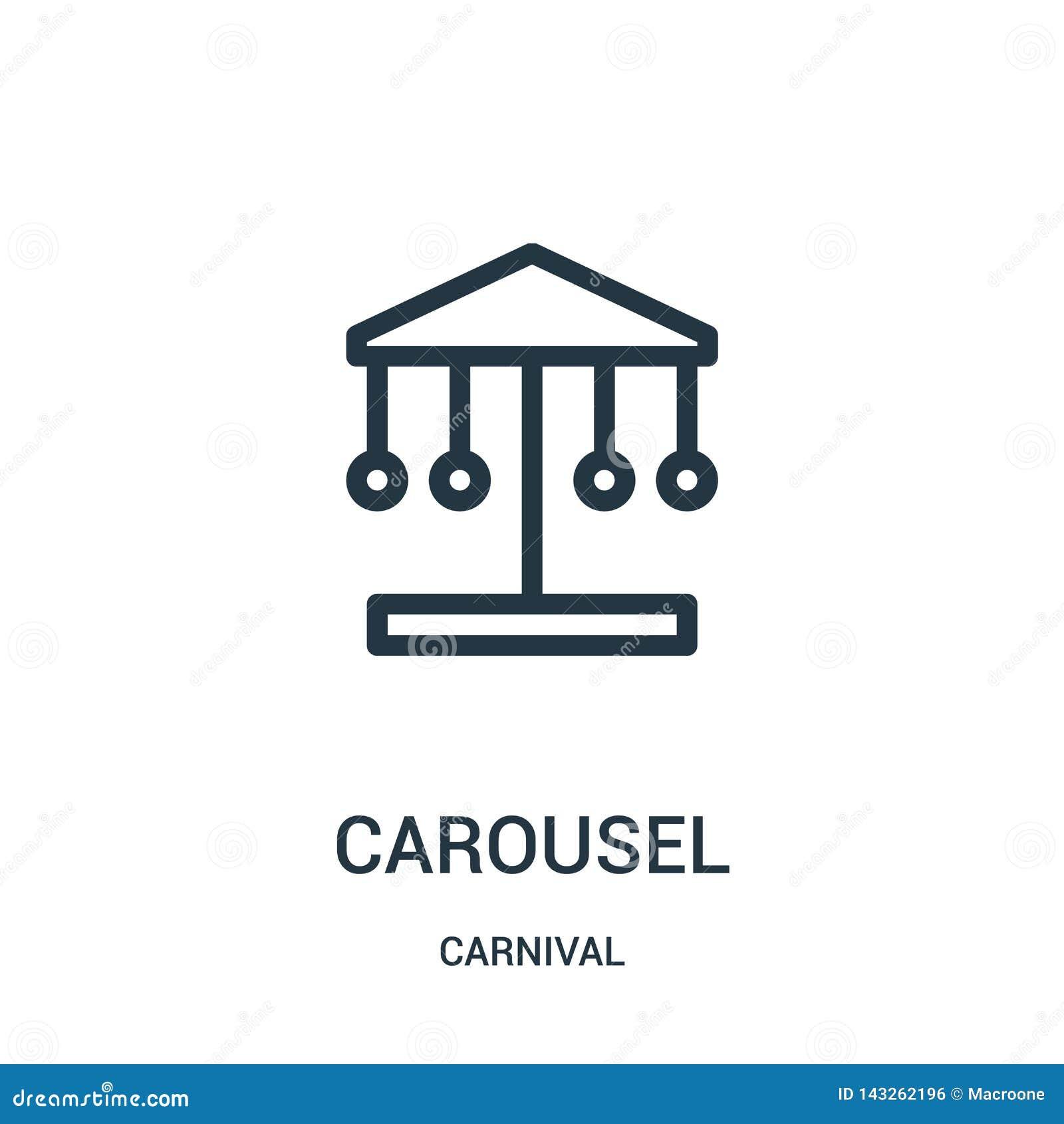 Vector del icono del carrusel de la colecci?n del carnaval L?nea fina ejemplo del vector del icono del esquema del carrusel