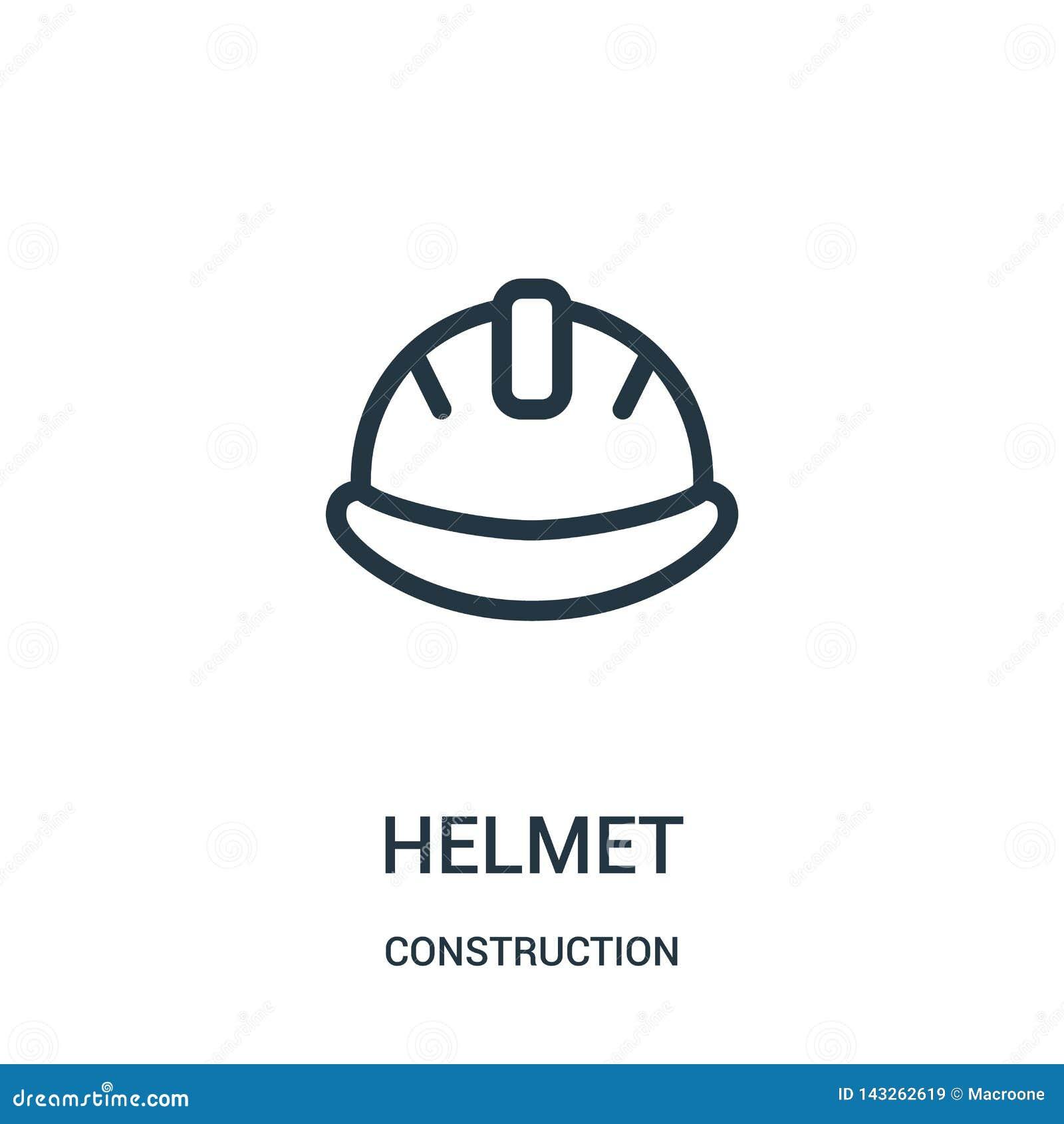 Vector del icono del casco de la colección de la construcción Línea fina ejemplo del vector del icono del esquema del casco