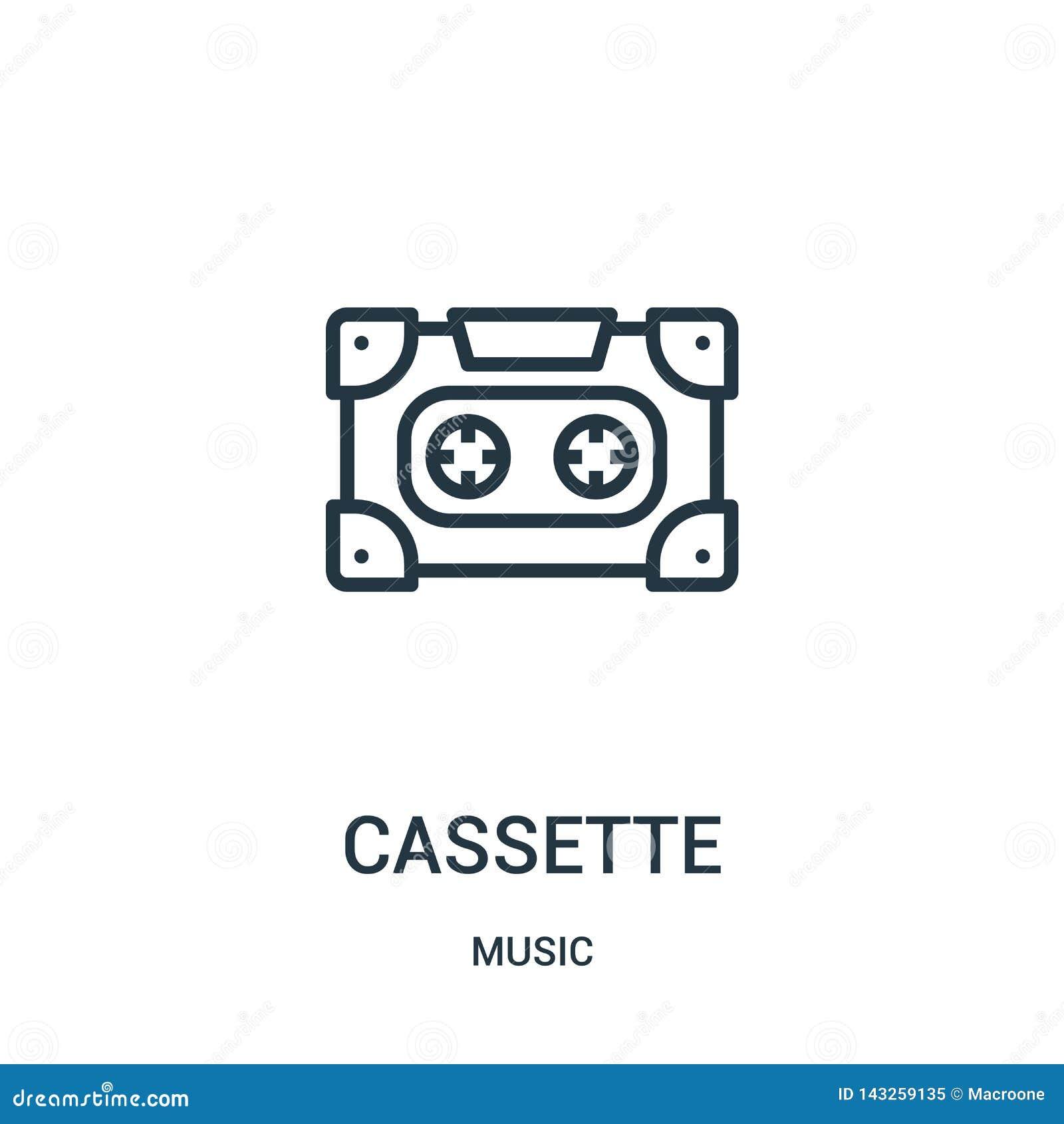 Vector del icono del casete de la colección de música L?nea fina ejemplo del vector del icono del esquema del casete