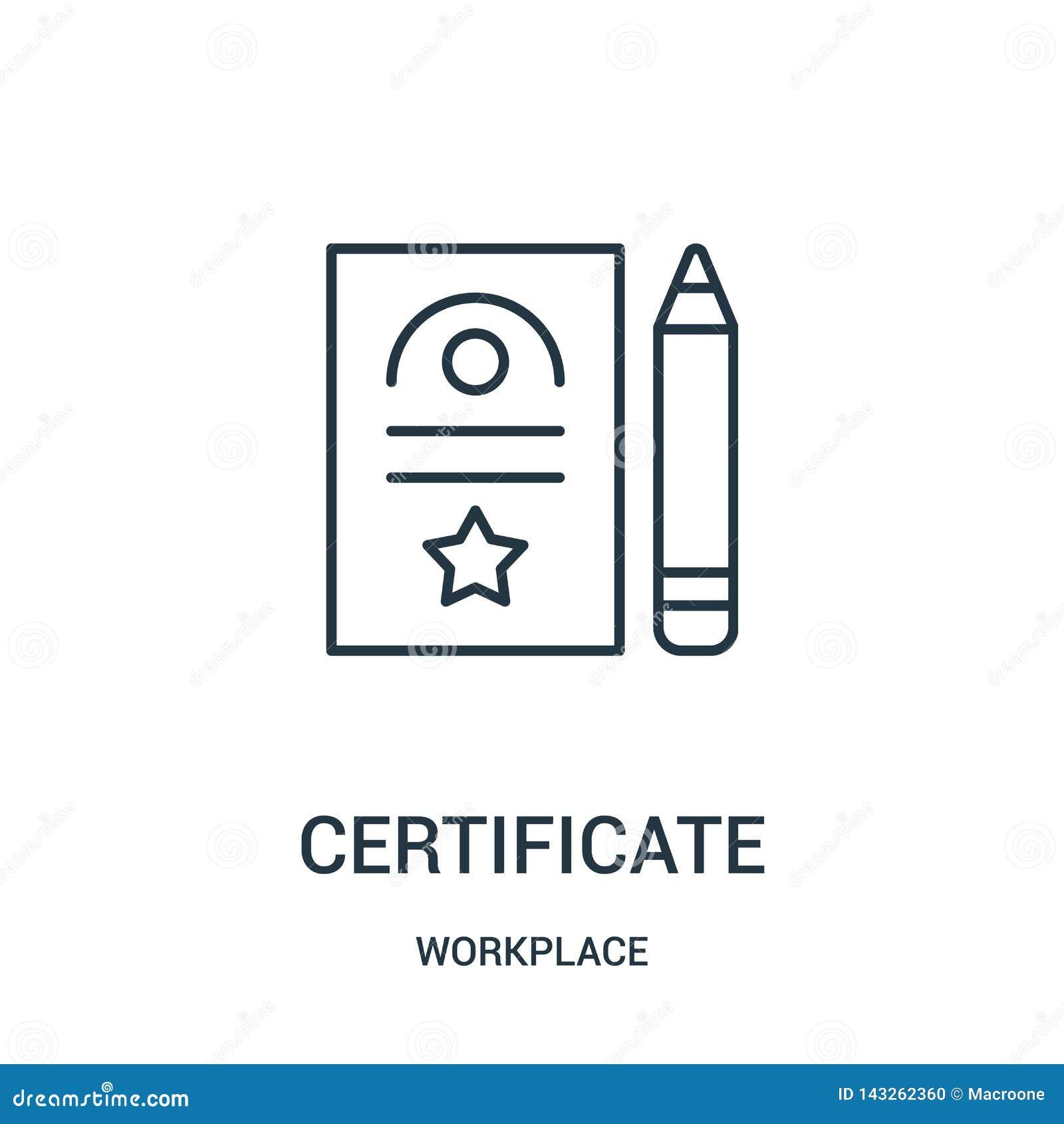 Vector del icono del certificado de la colección del lugar de trabajo L?nea fina ejemplo del vector del icono del esquema del cer