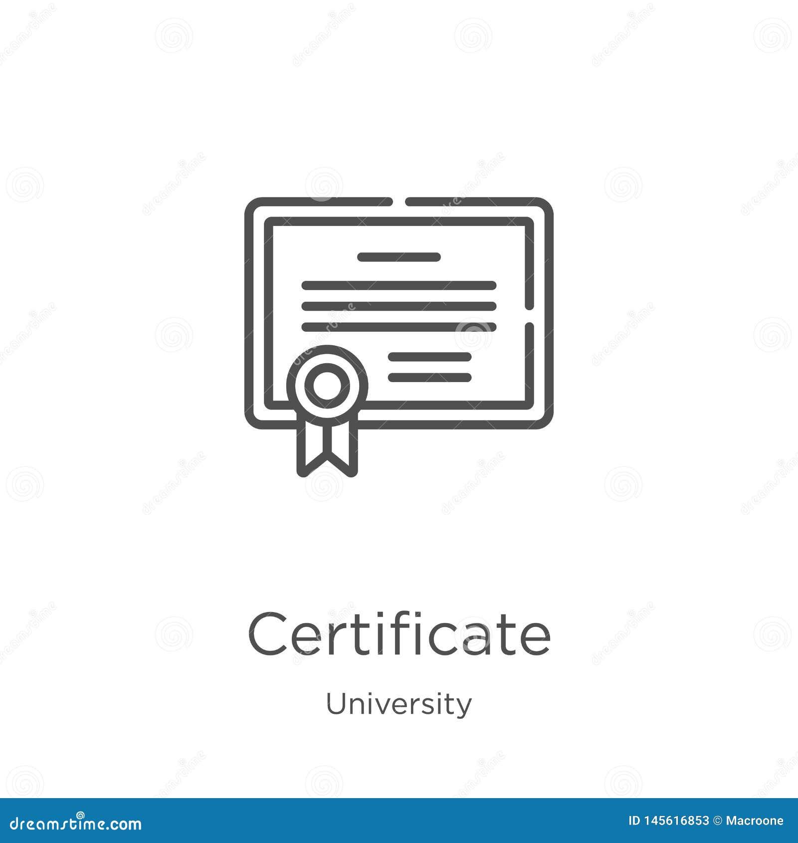 Vector del icono del certificado de la colección de la universidad Línea fina ejemplo del vector del icono del esquema del certif