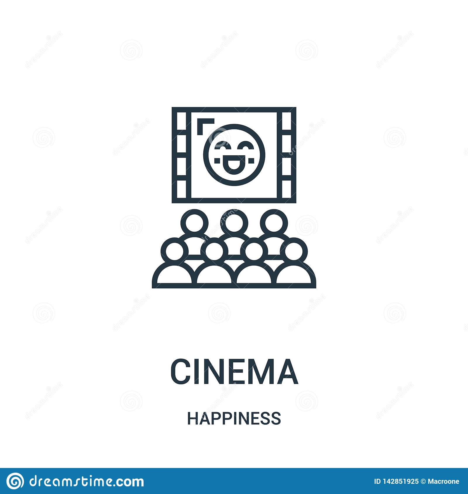 Vector del icono del cine de la colección de la felicidad Línea fina ejemplo del vector del icono del esquema del cine Símbolo li