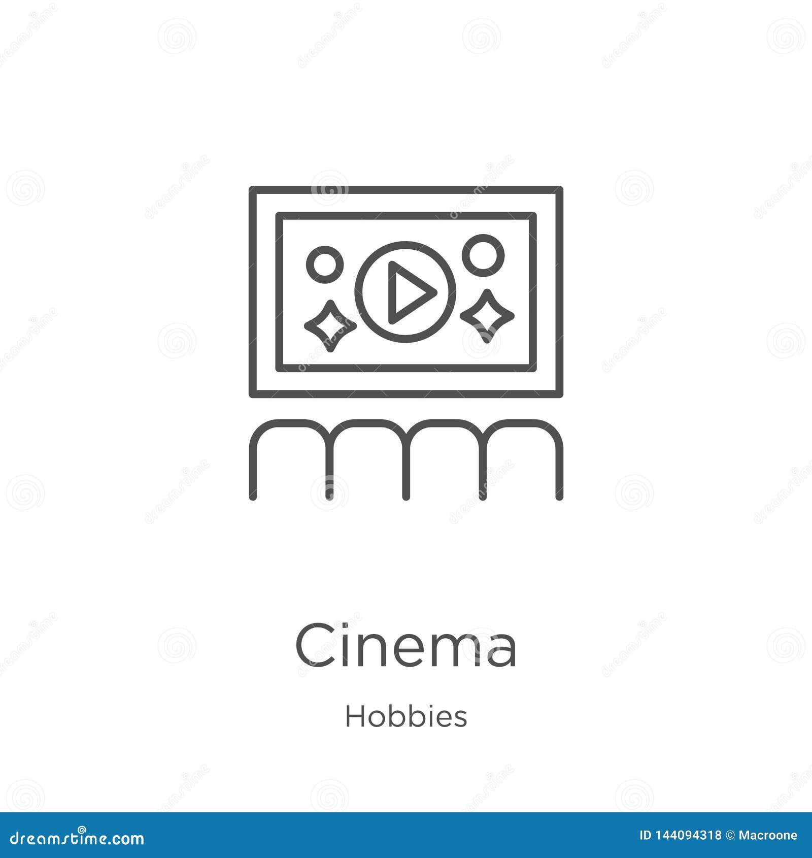 Vector del icono del cine de la colecci?n de las aficiones L?nea fina ejemplo del vector del icono del esquema del cine Esquema,