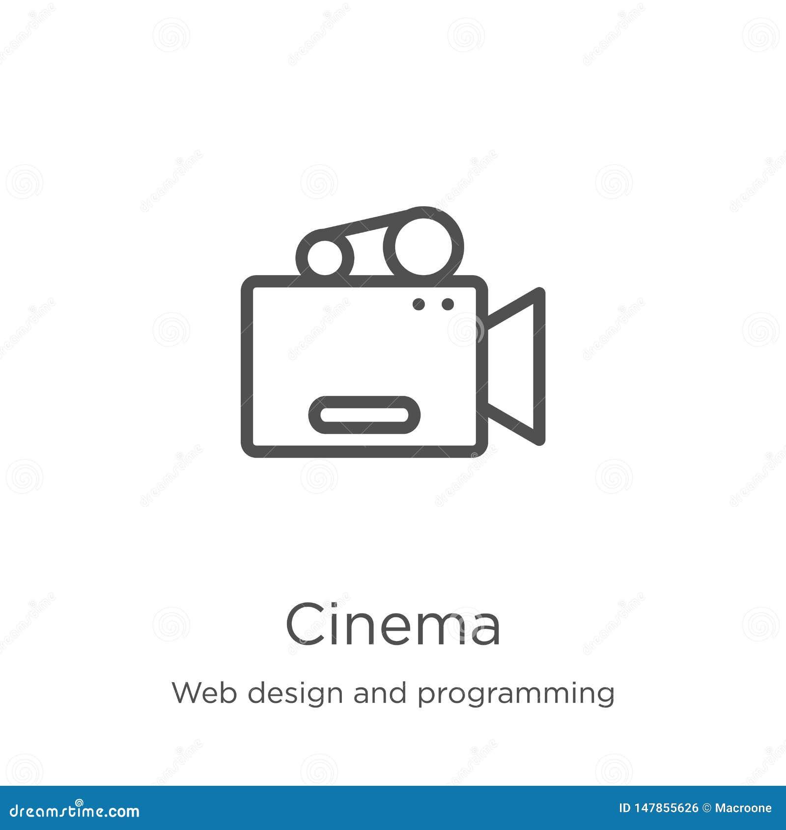 Vector del icono del cine del diseño web y de la colección programada L?nea fina ejemplo del vector del icono del esquema del cin