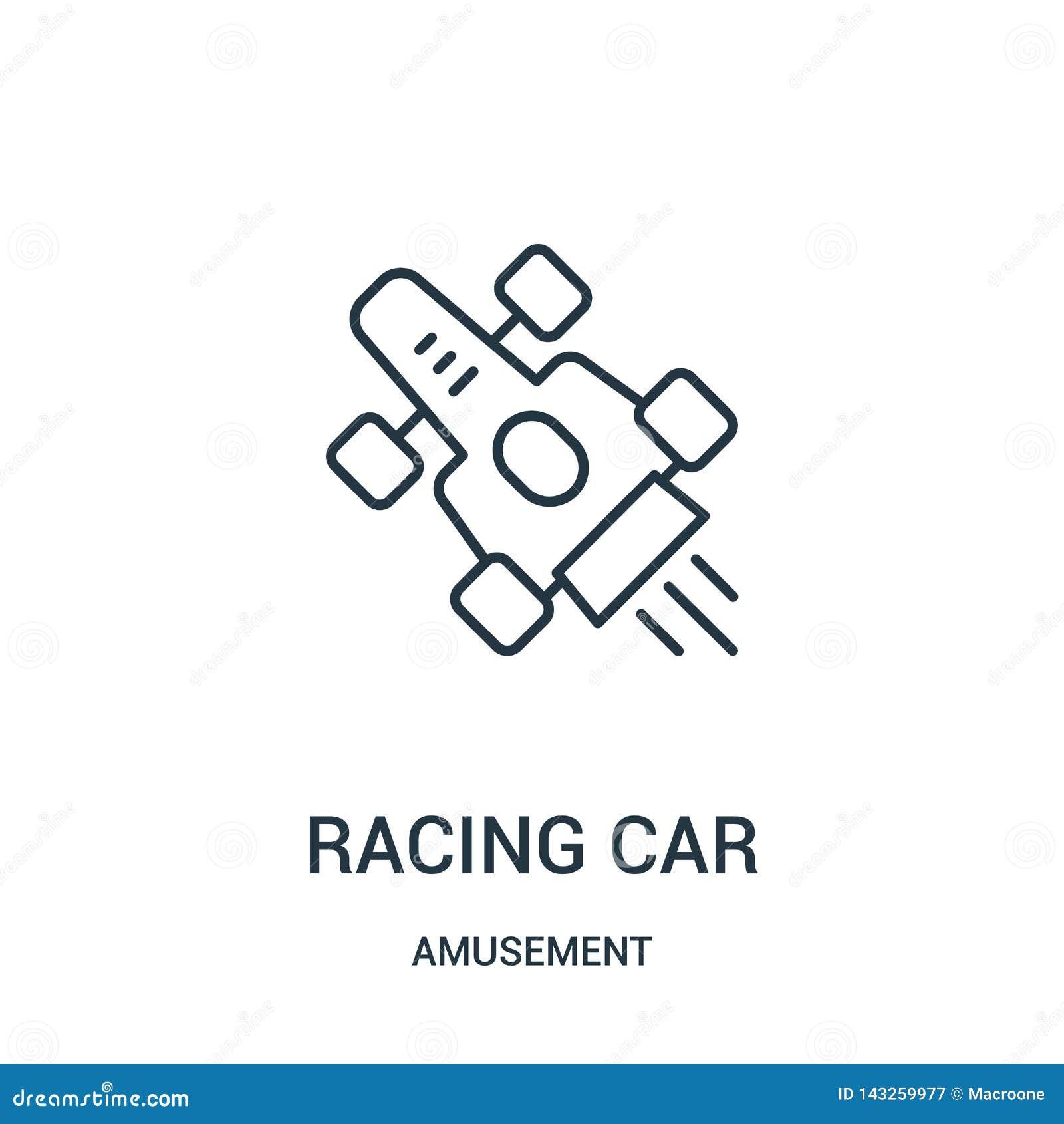 Vector del icono del coche de competición de la colección de la diversión Línea fina ejemplo del vector del icono del esquema del