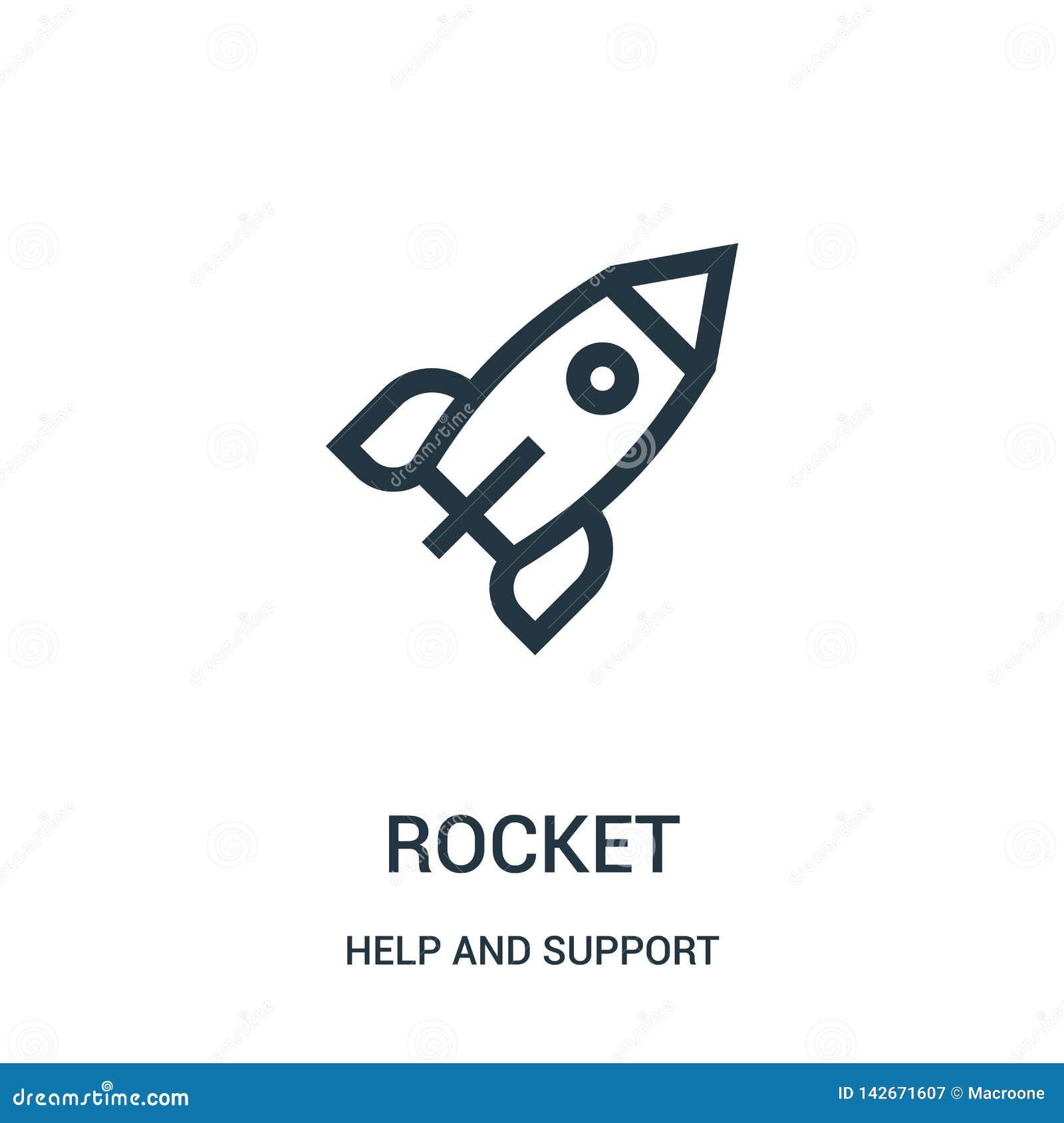 Vector del icono del cohete de la colección de la ayuda y de la ayuda Línea fina ejemplo del vector del icono del esquema del coh