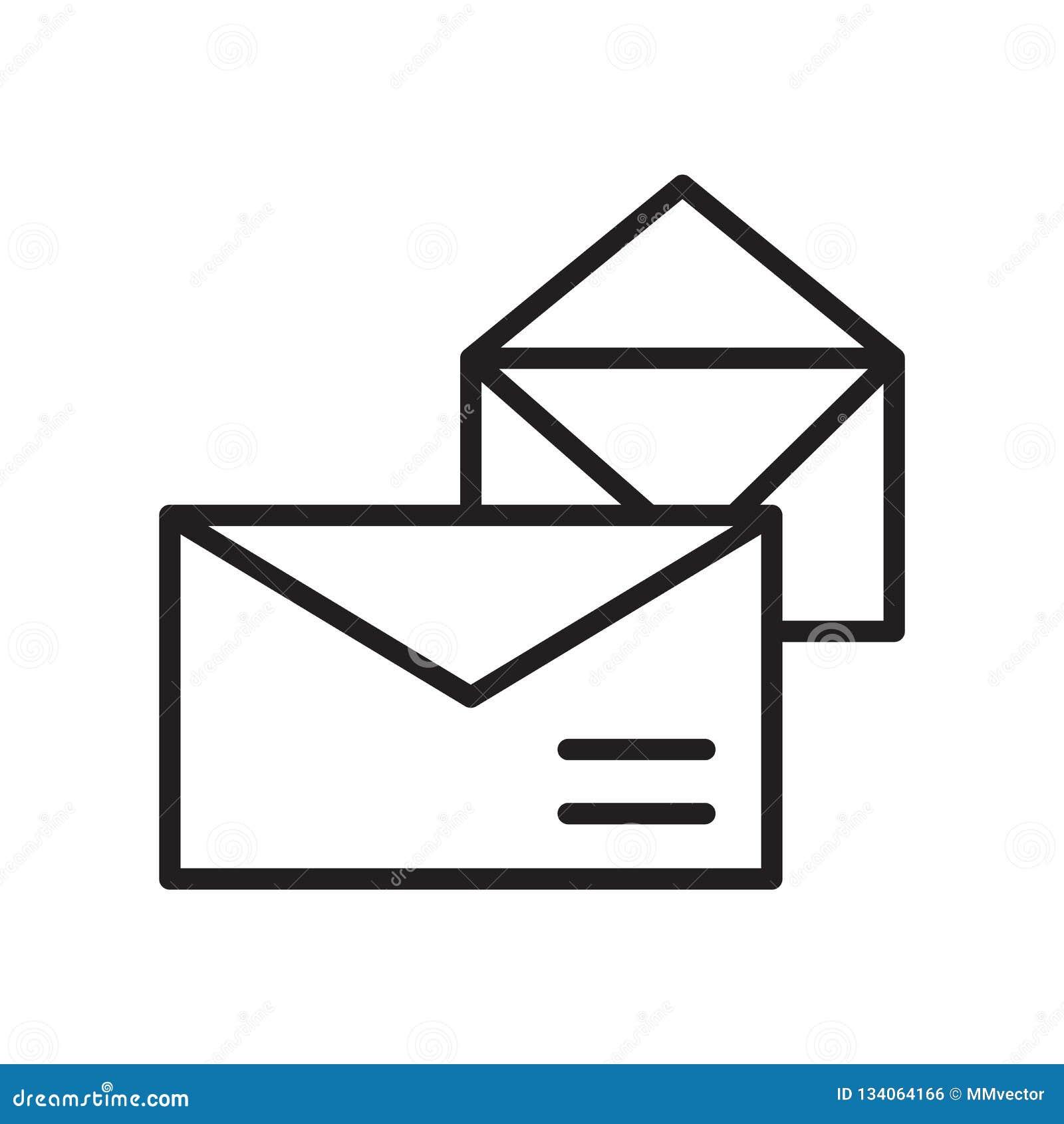Vector del icono del correo aislado en el fondo blanco, la muestra del correo, el símbolo linear y elementos del diseño del movim