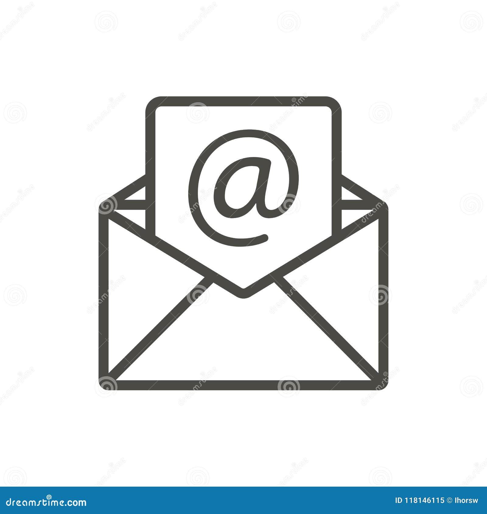 Vector del icono del correo electrónico Línea símbolo abierto del correo