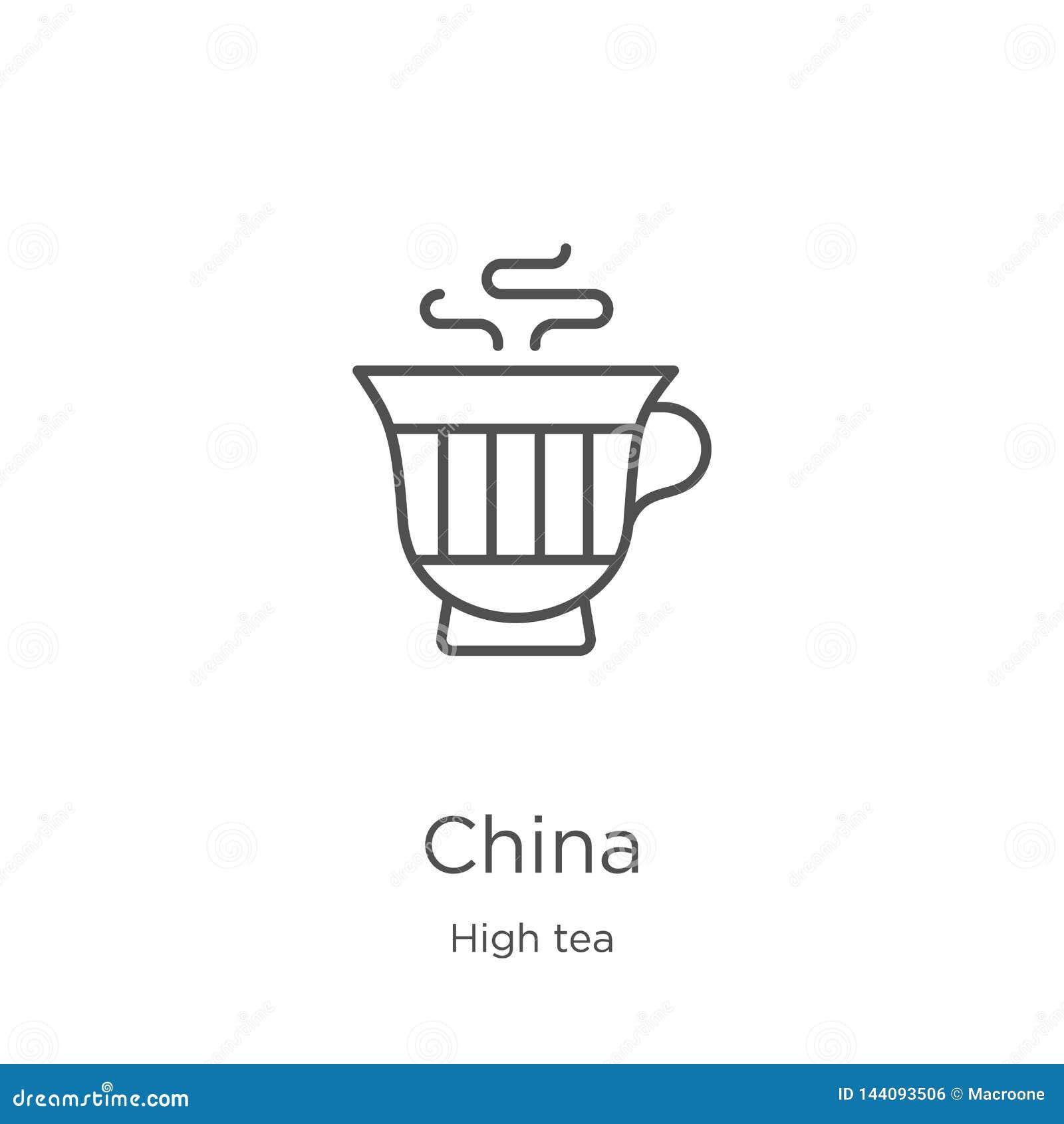 Vector del icono de China de la colección de la merienda-cena L?nea fina ejemplo del vector del icono del esquema de China Esquem