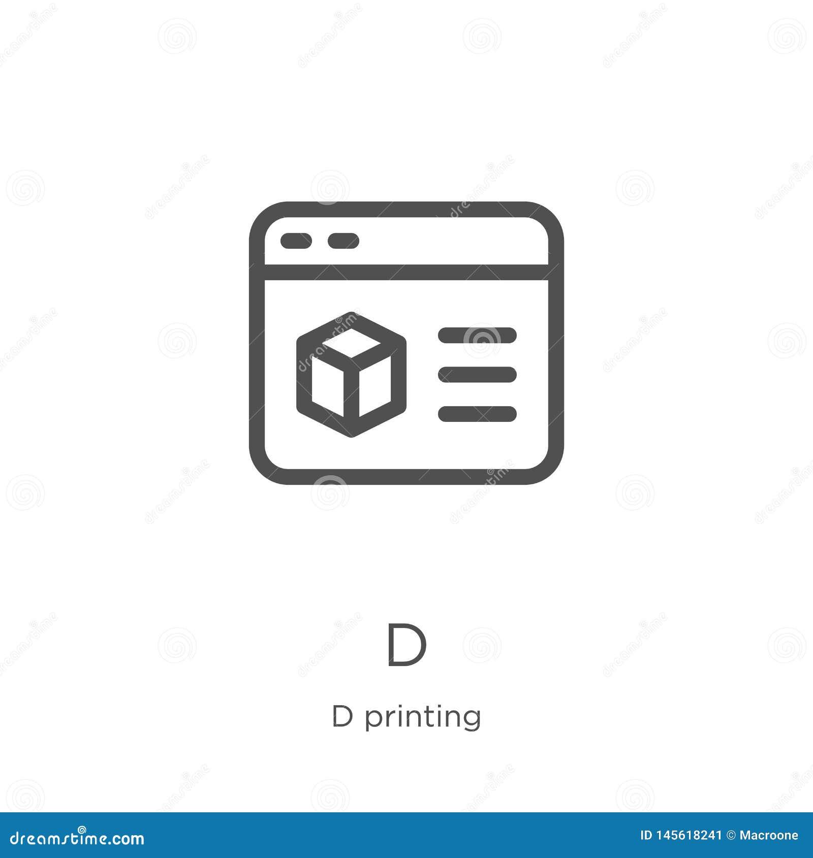 Vector del icono de d de la colecci?n de impresi?n de d L?nea fina ejemplo del vector del icono del esquema de d Esquema, l?nea f
