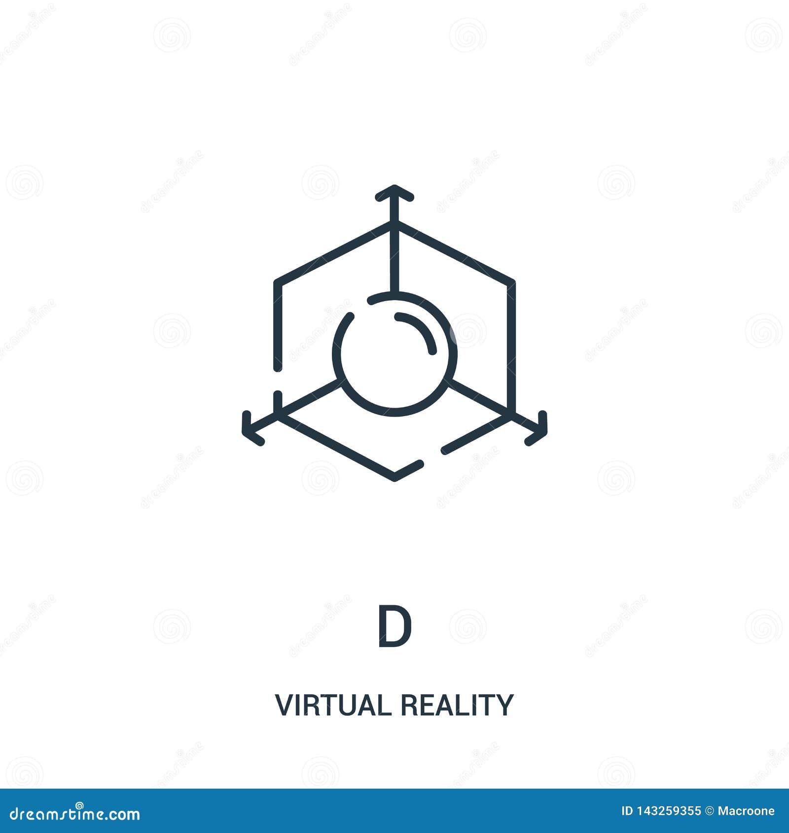 Vector del icono de d de la colecci?n de la realidad virtual L?nea fina ejemplo del vector del icono del esquema de d