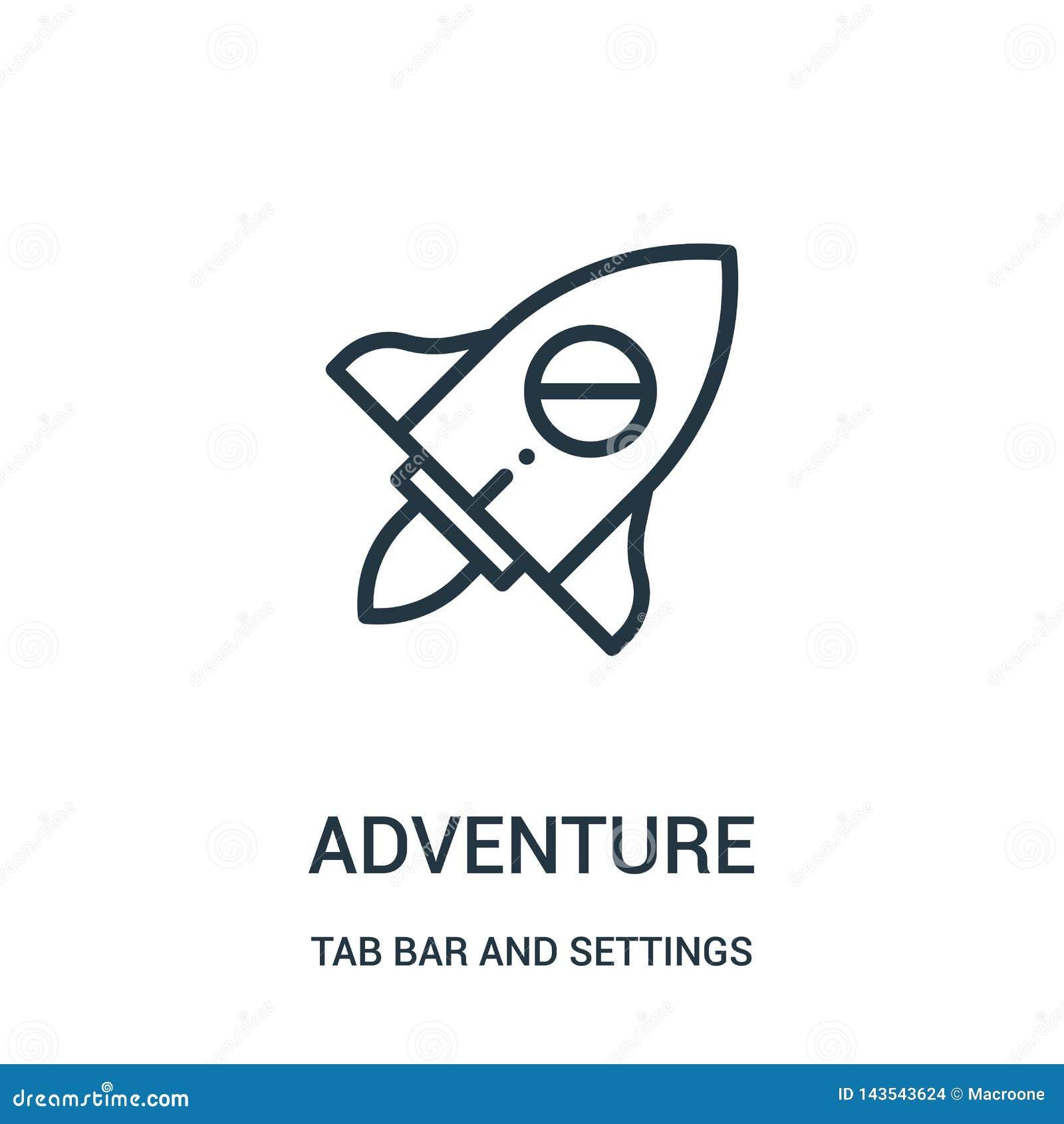 Vector del icono de la aventura de la barra de la etiqueta y de la colección de los ajustes Línea fina ejemplo del vector del ico
